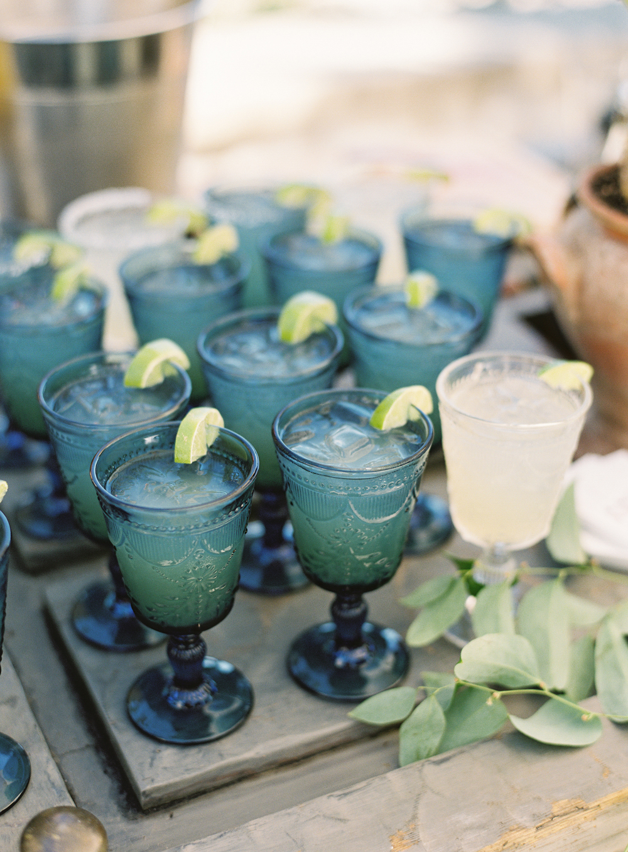 laurie michael wedding blue glassware