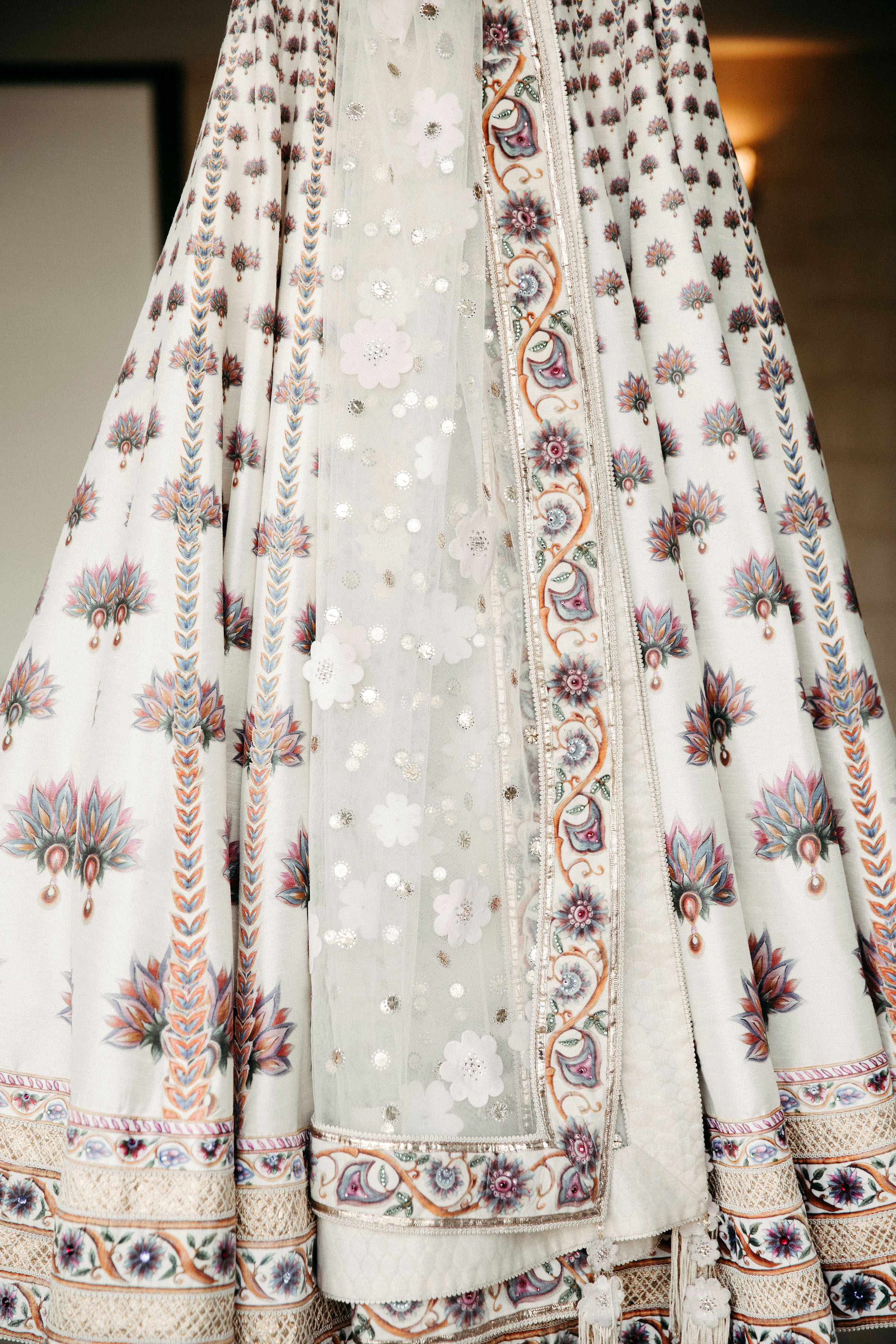 mughal inspired silk print and french lace wedding gown