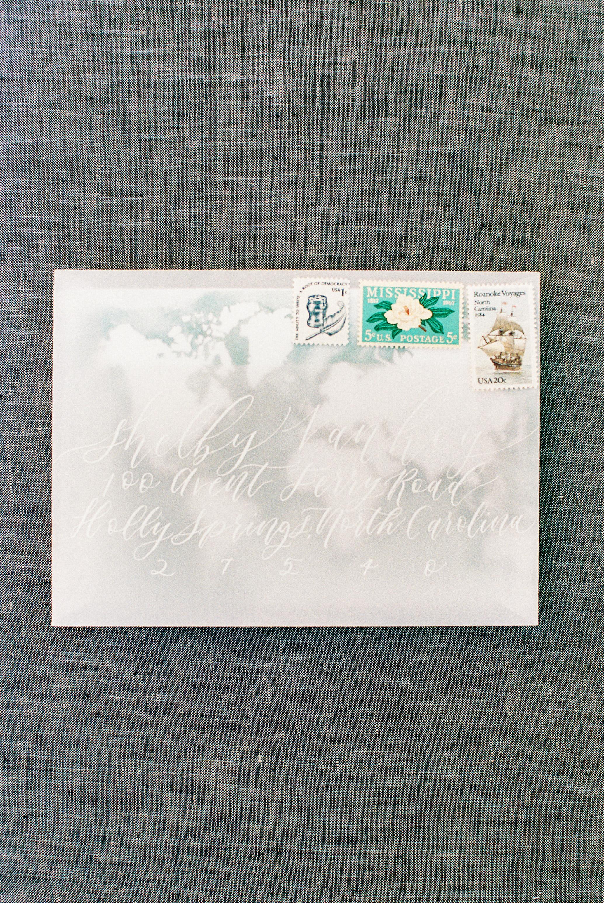 map envelope wedding invitation