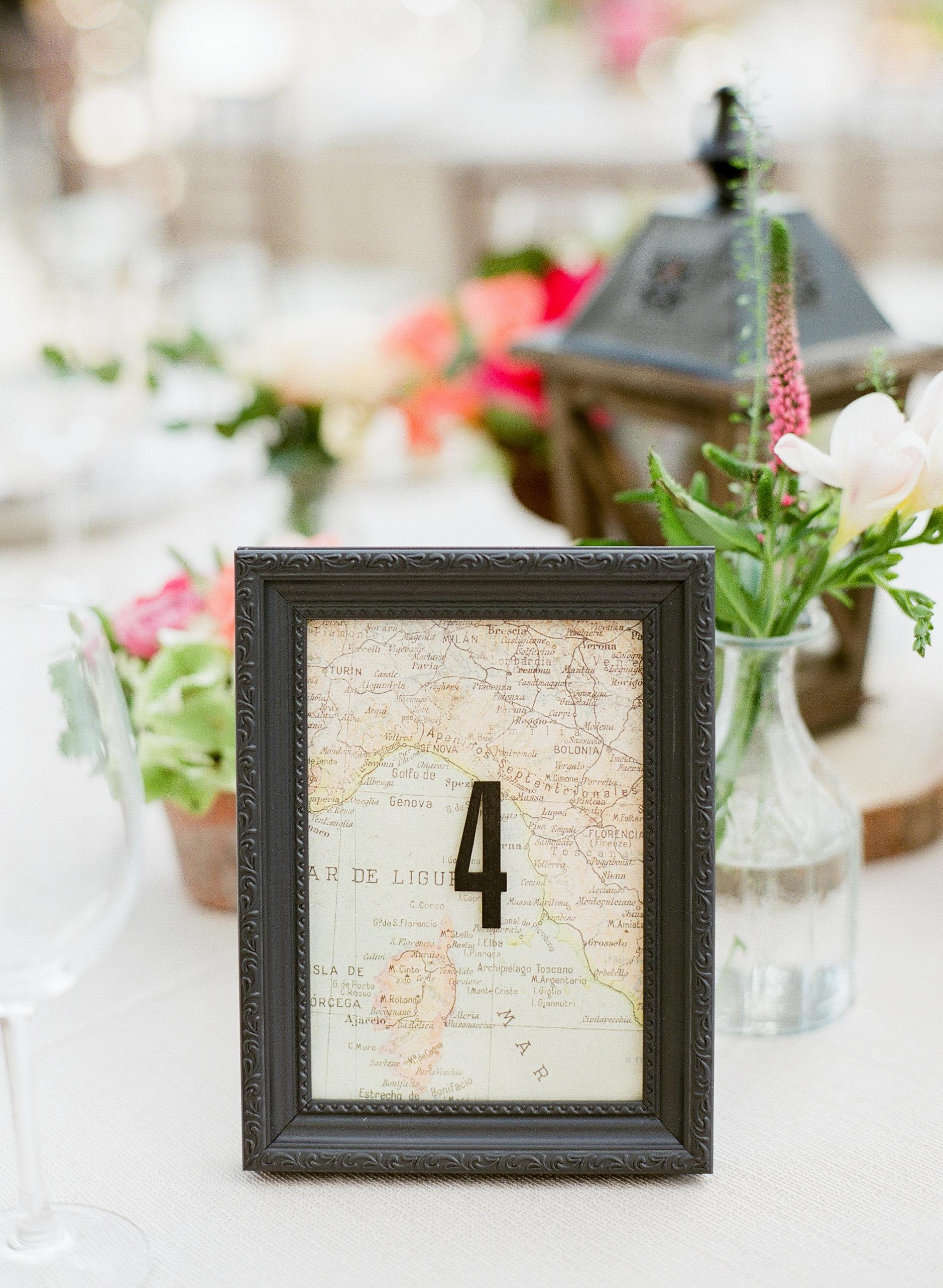 framed map table number