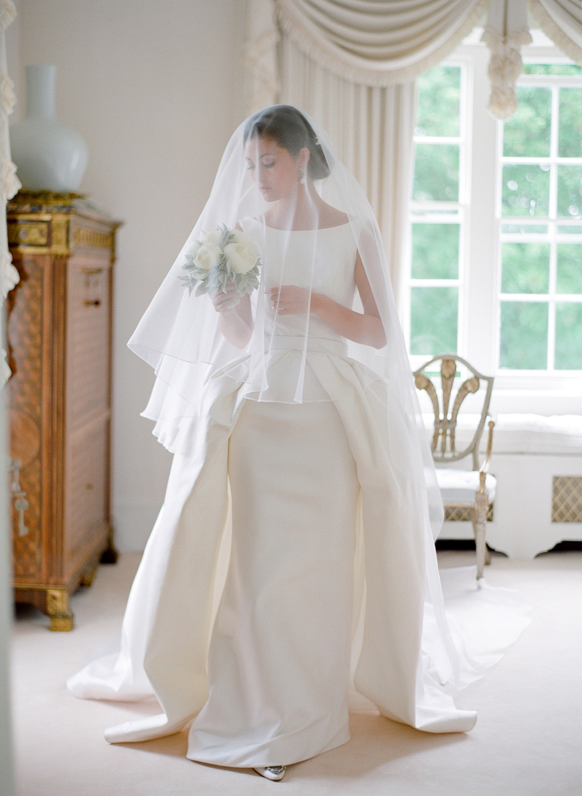 peony matthew england wedding bride in gown and veil