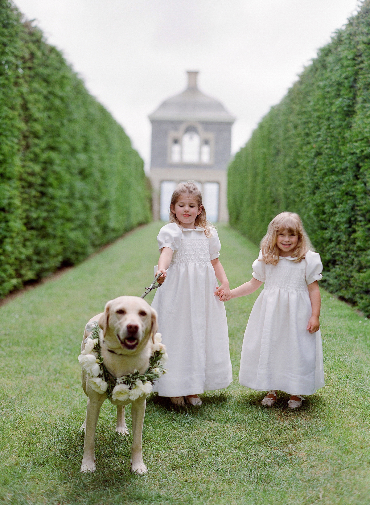peony matthew england wedding flower girls and dog