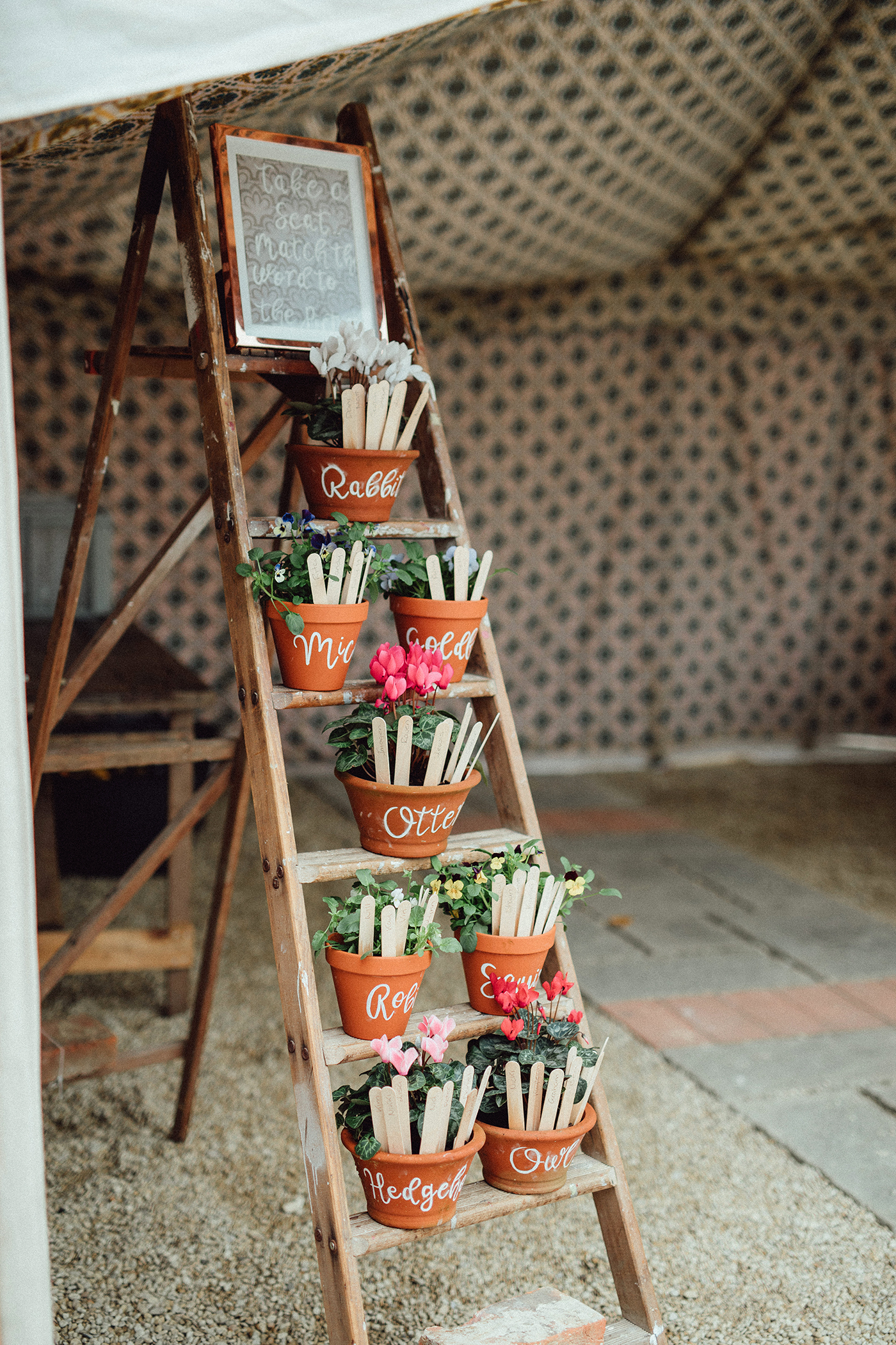 terra cotta decor potted plant seating chart