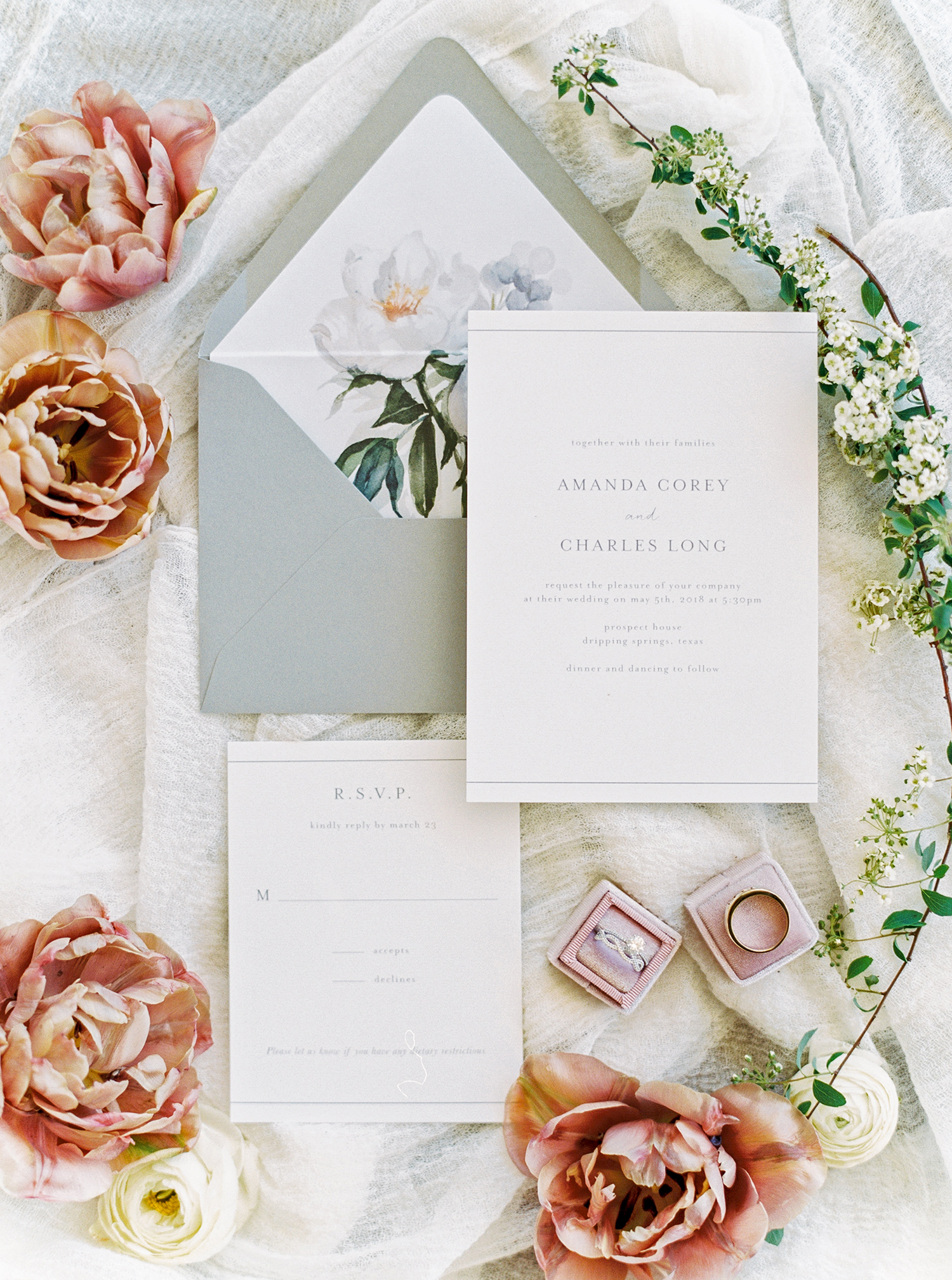 amanda chuck wedding floral invitation suite