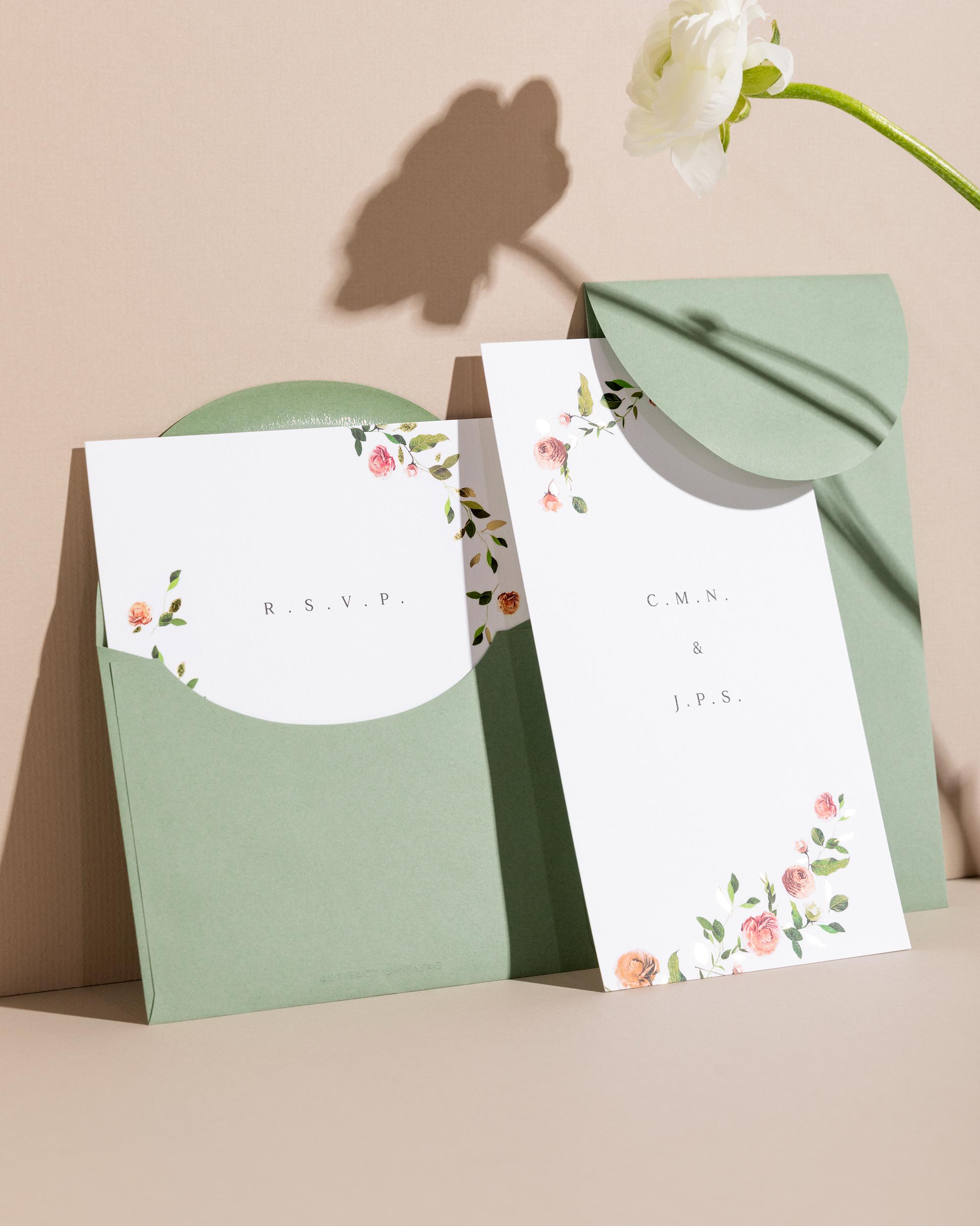 artifact uprising venamour botanical wedding invitation suite