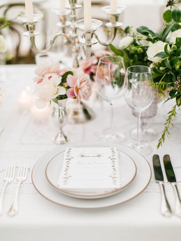 classic wedding place setting