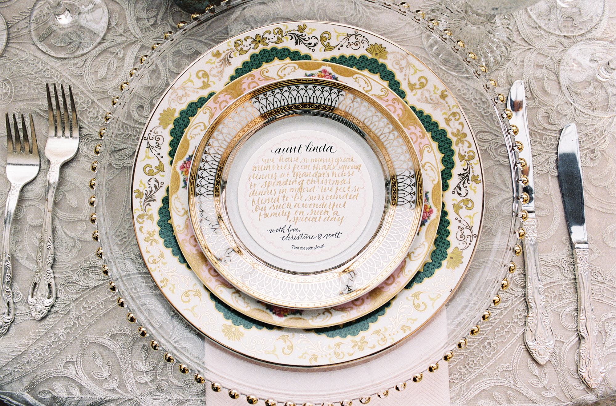 place settings with notes