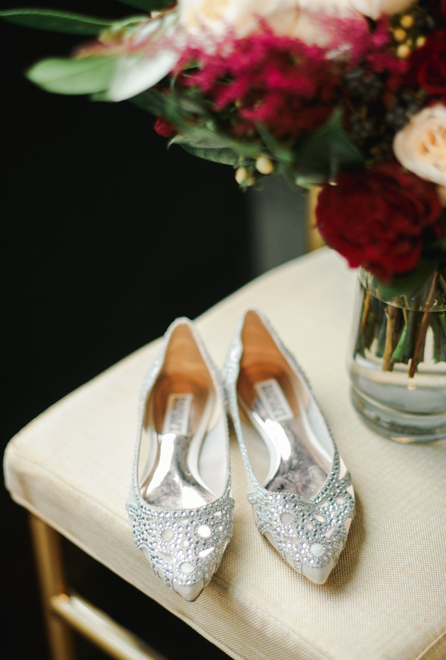elizabeth seth wedding brides silver shoes