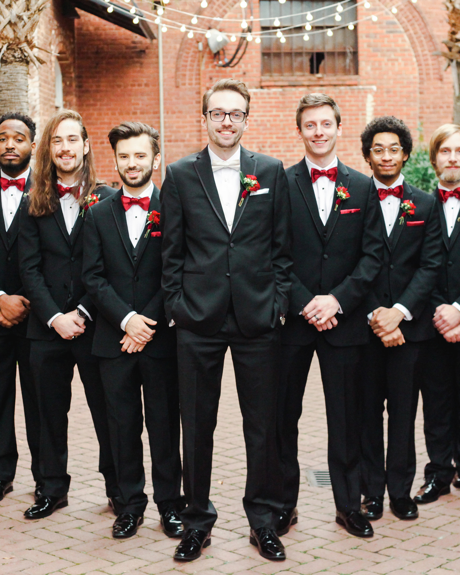 elizabeth seth wedding groom with groomsmen