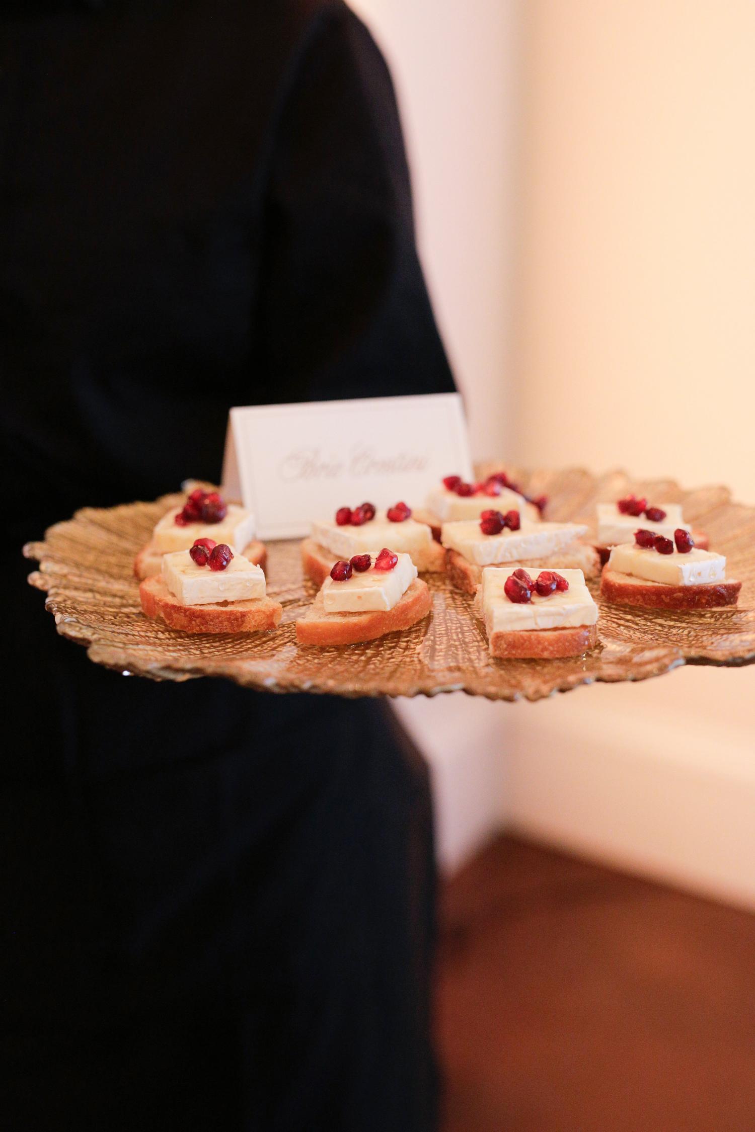 elizabeth seth wedding appetizers on gold platter