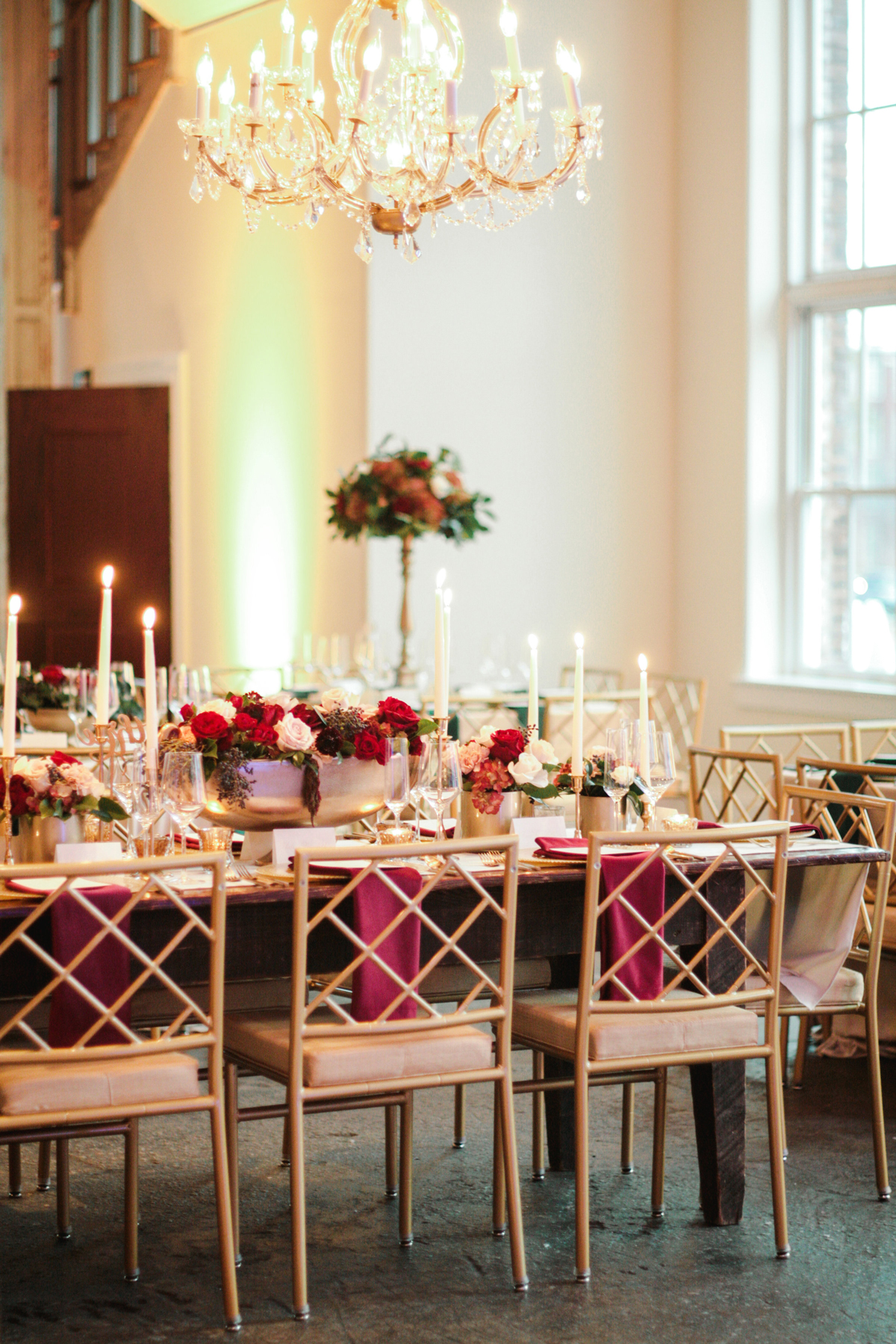 elizabeth seth wedding gold and red reception tables