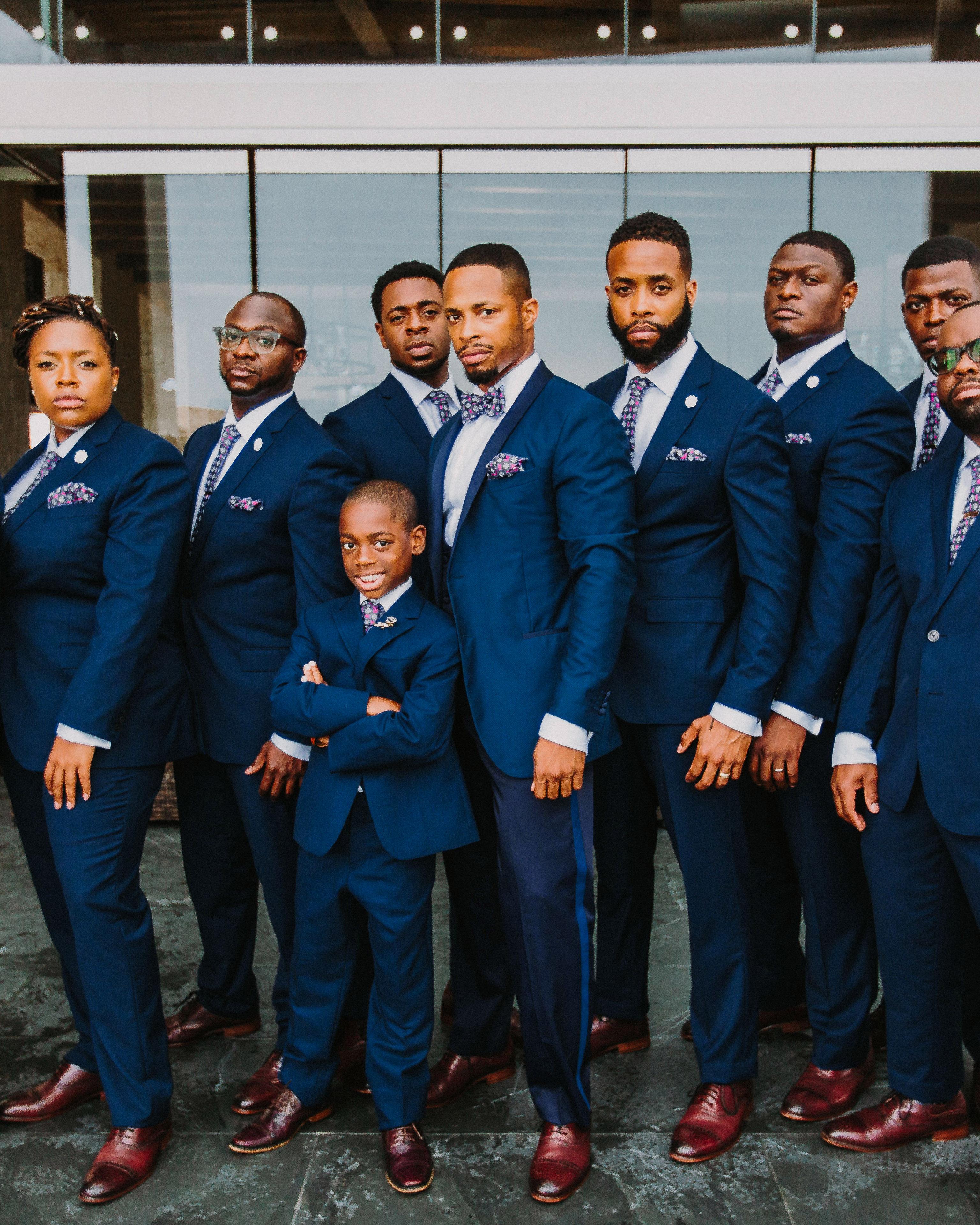 groom groomsmen groomsmaid navy blue suits