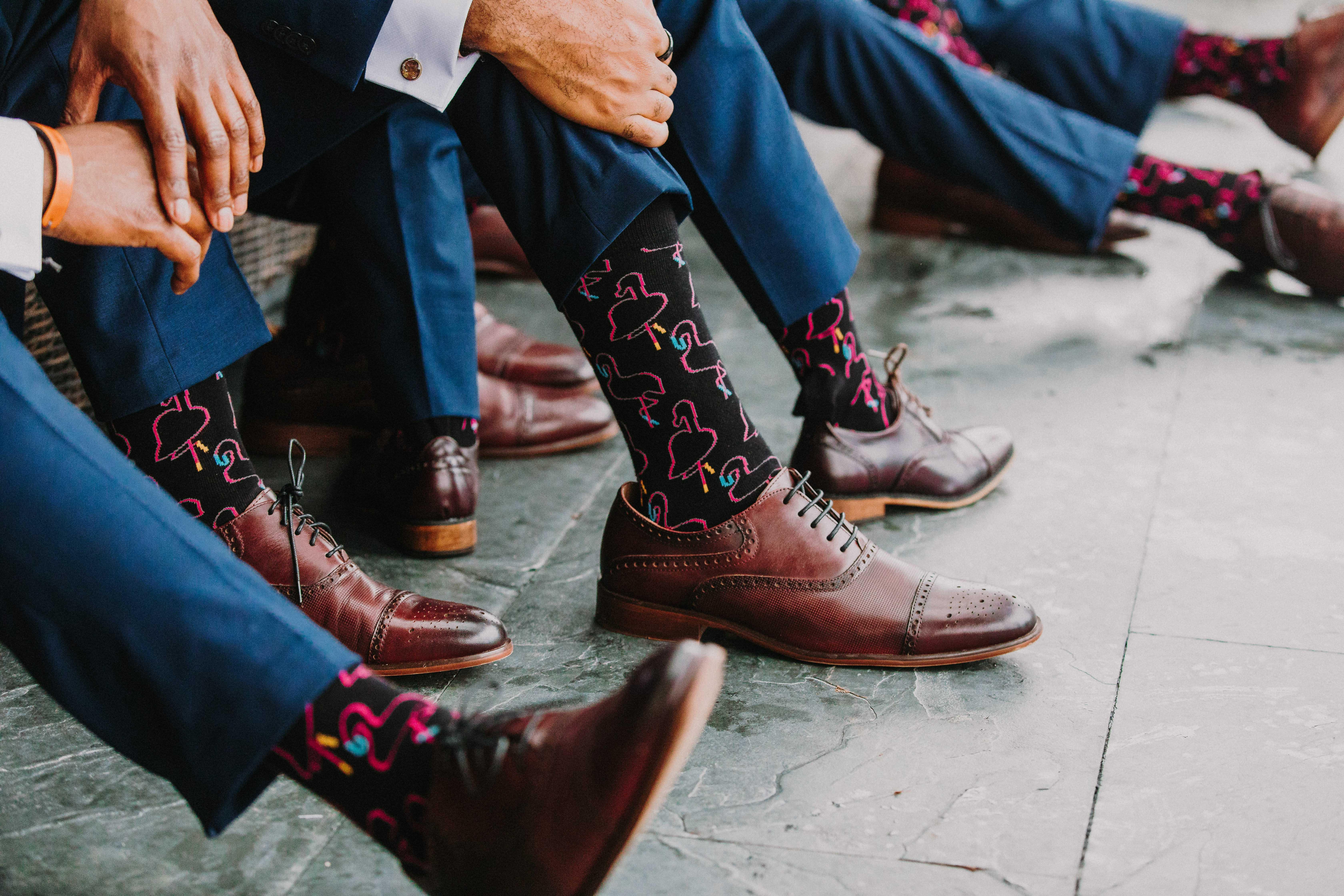 groomsmen brown leather shoes black flamingo socks