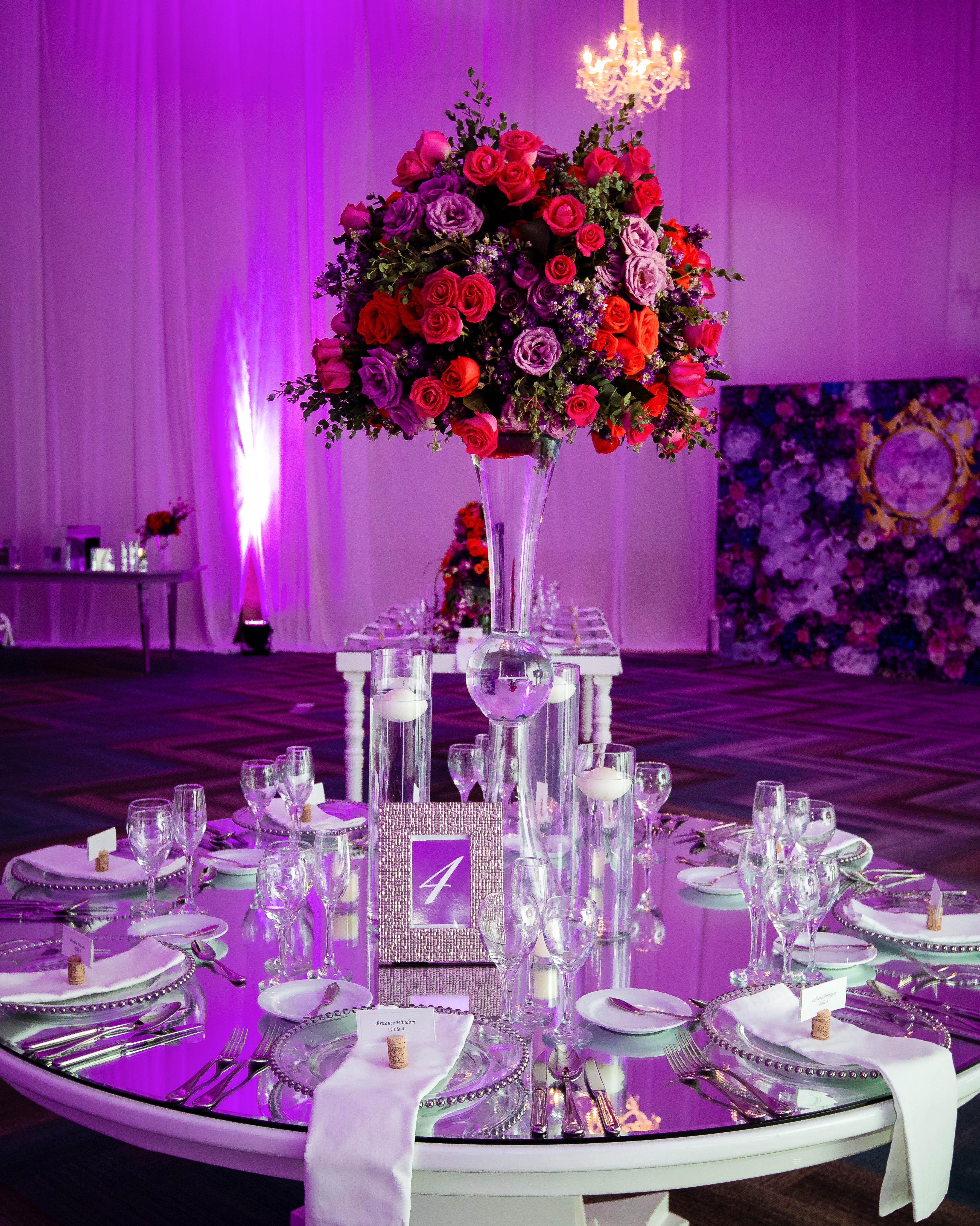 wedding reception table mirror top roses