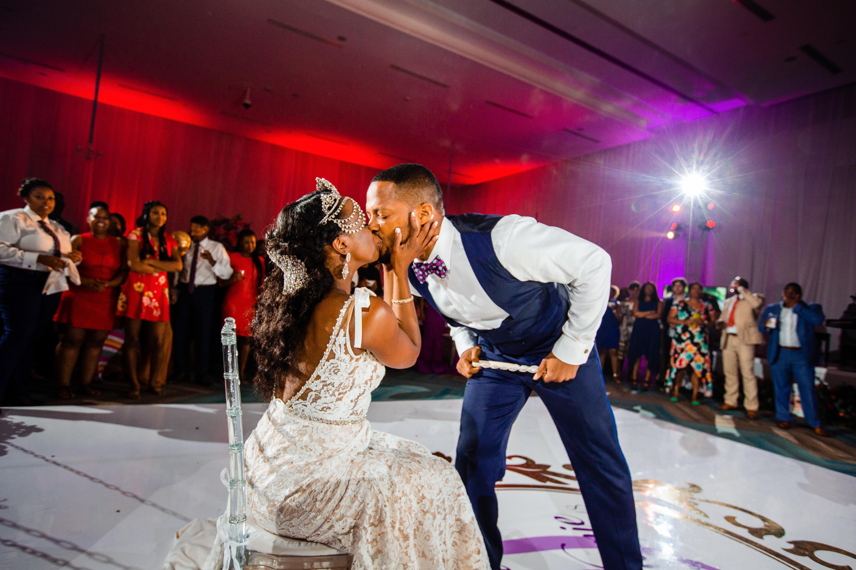 wedding reception dance floor bride groom kiss