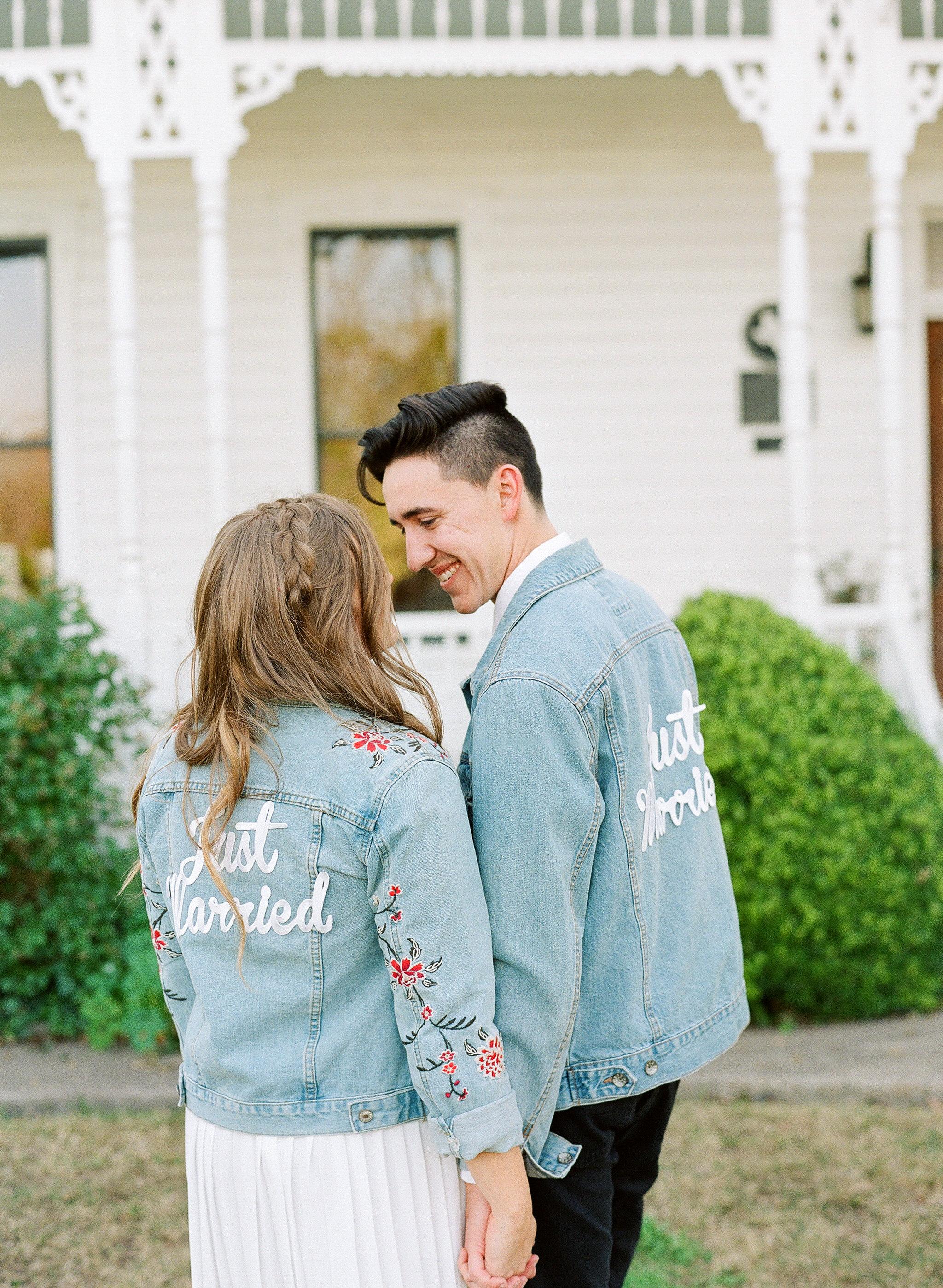 hayleigh corey wedding couple denim jackets