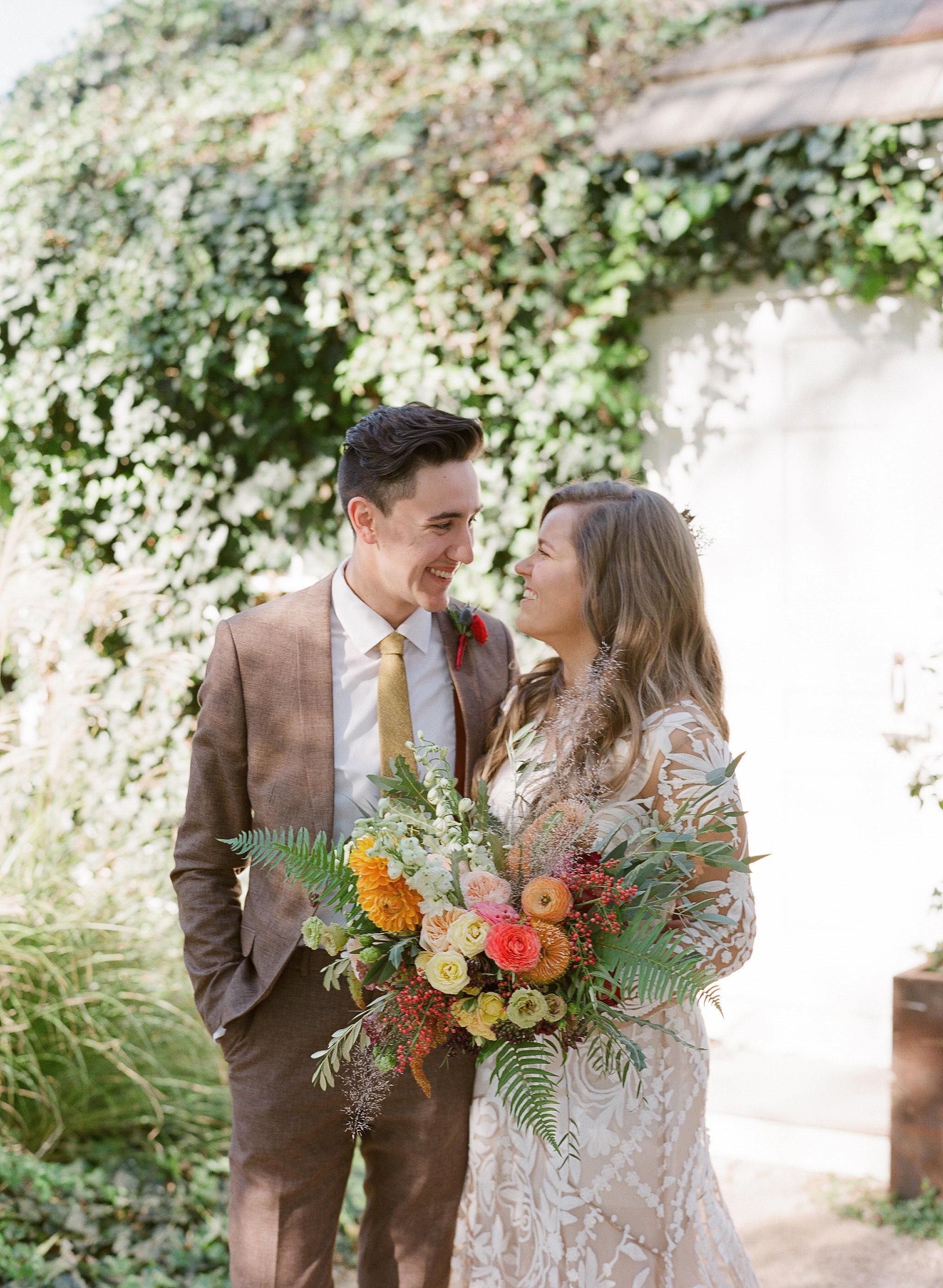 hayleigh corey wedding first look couple bride and groom