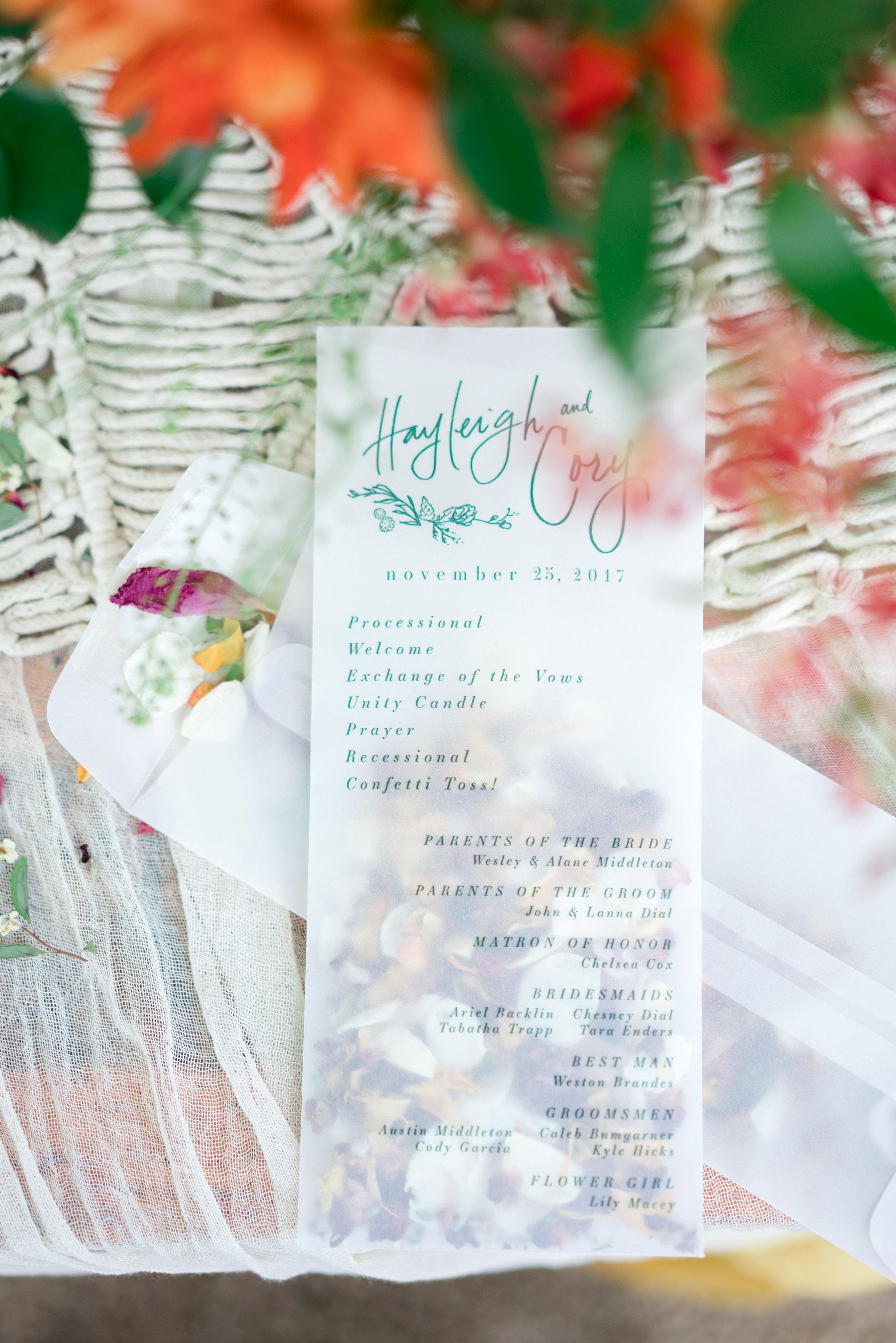 hayleigh corey wedding program pouch