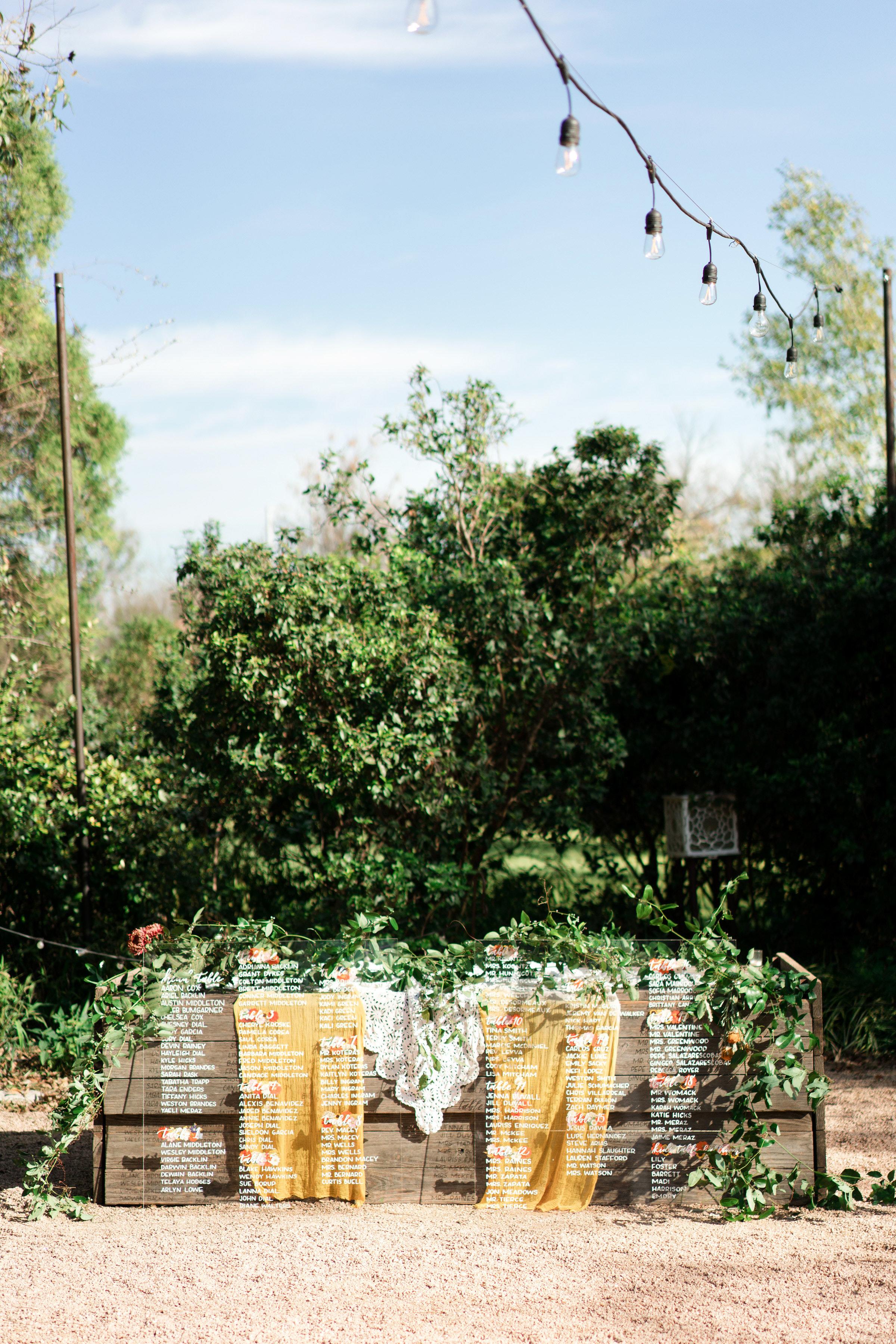hayleigh corey wedding seating chart display