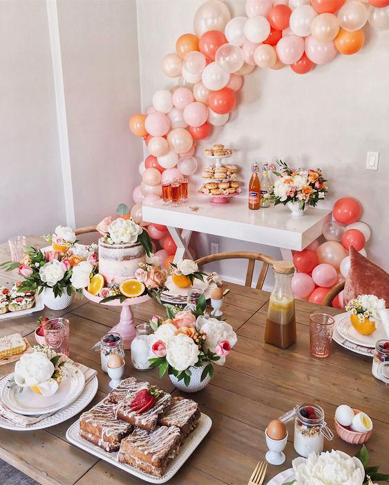 bridal shower ideas citrust inspired place settings peach white decor