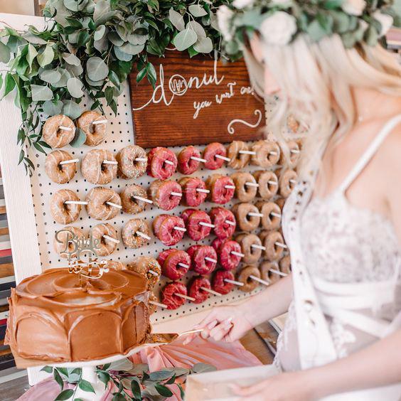 bridal shower ideas donut board chocolate cake