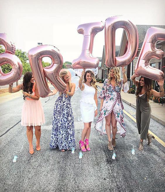 bridal shower ideas pink letter balloons bride