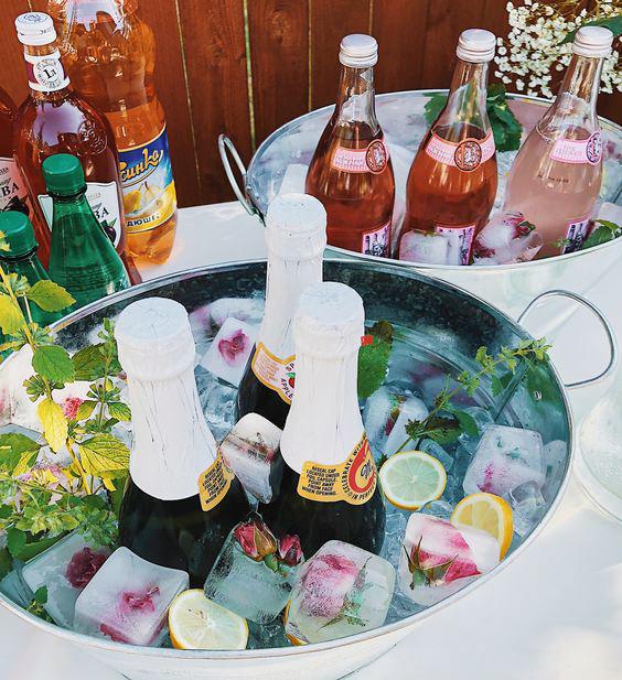 bridal shower ideas frozen floral blooms wine stand