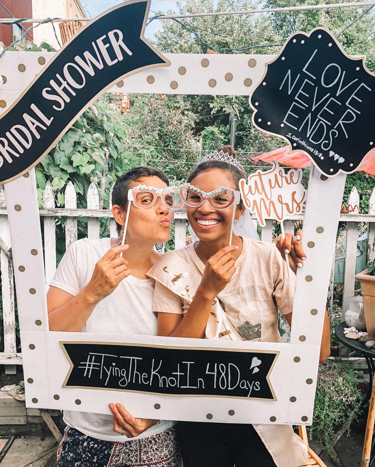 bridal shower ideas polaroid theme frame photobooth