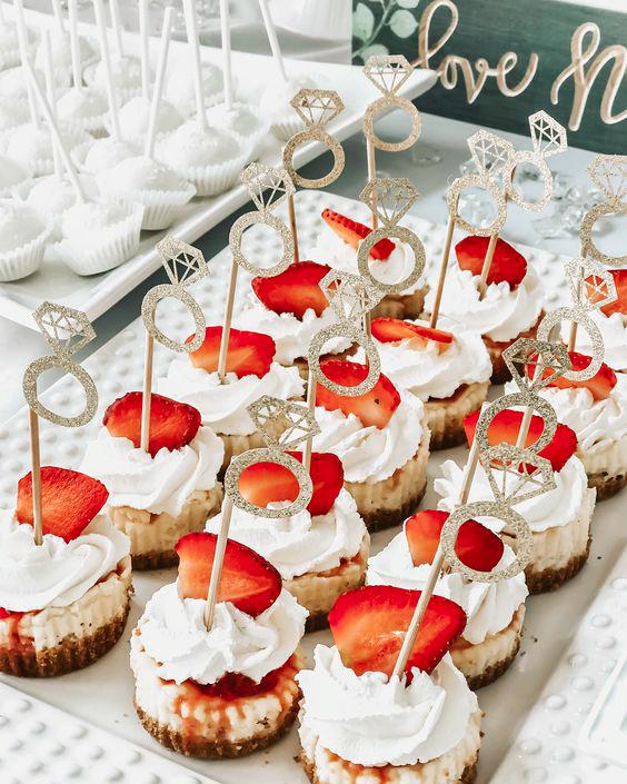 bridal shower strawberry cheesecake bites ring decor