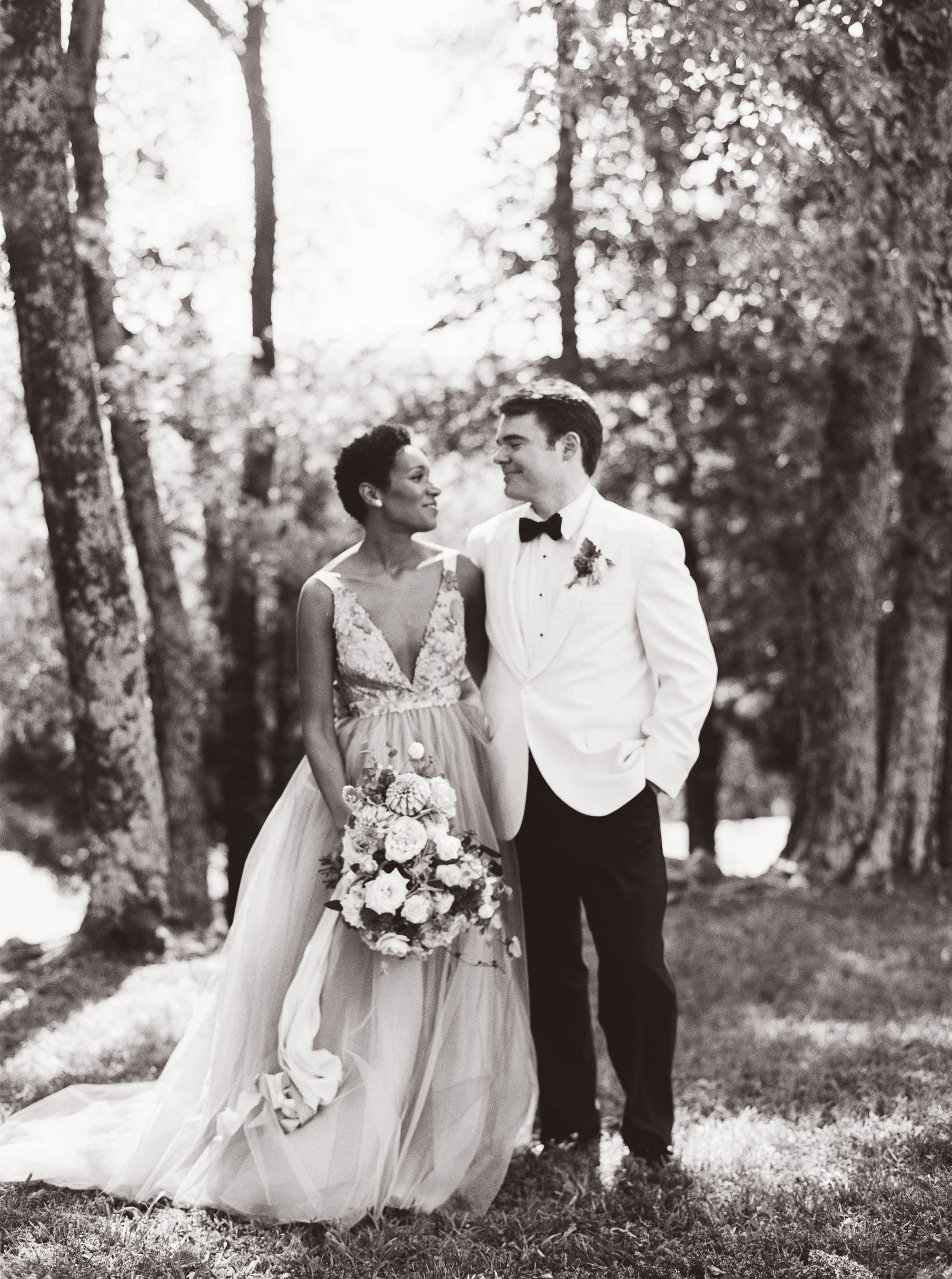 amanda william wedding tennessee couple in woods black and white