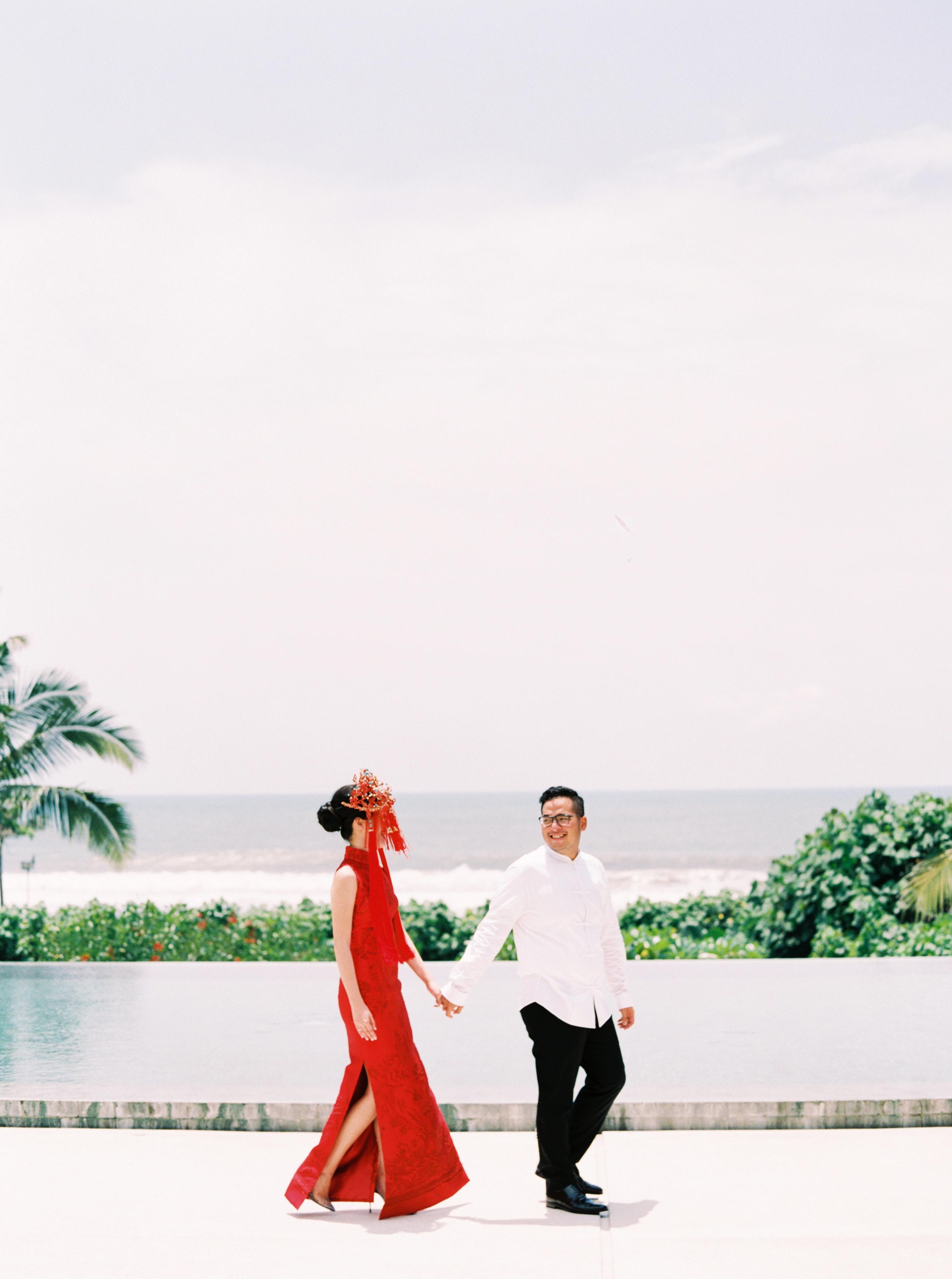 vivi yoga bali wedding ceremony couple red dress