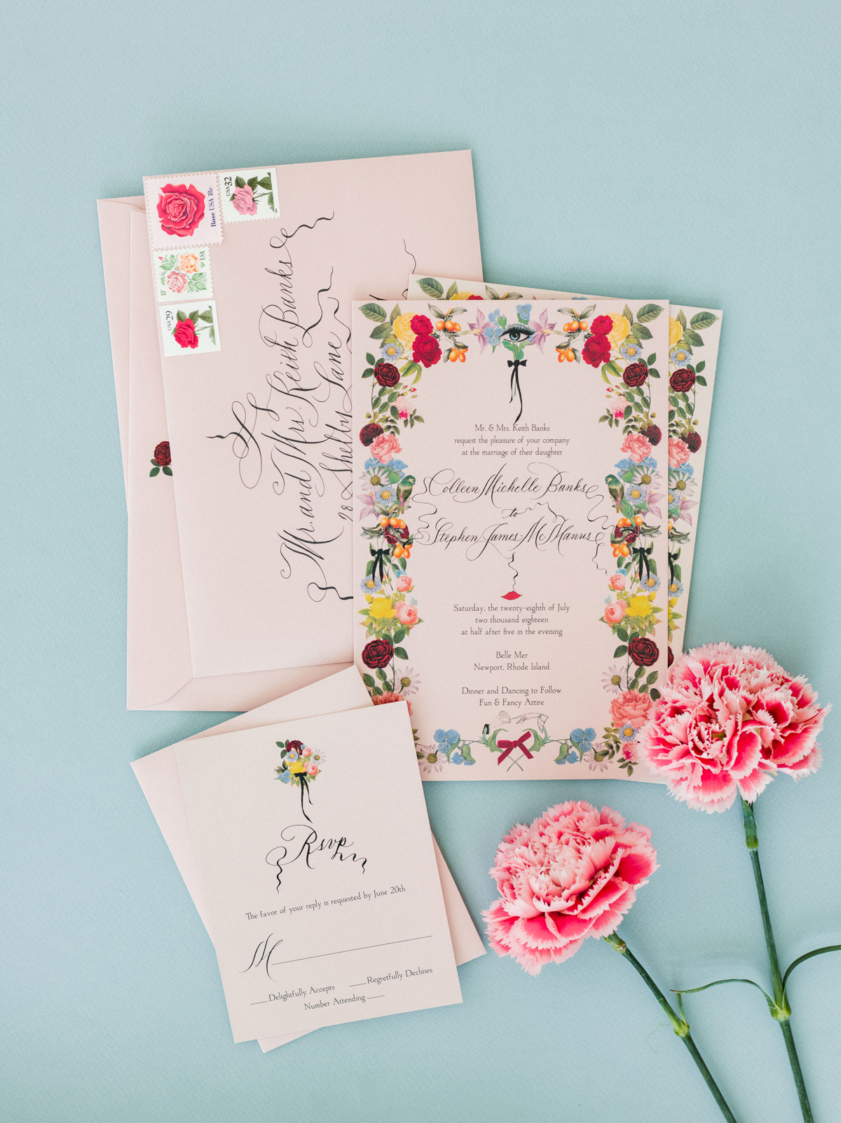 colleen stephen newport wedding floral invitation suite