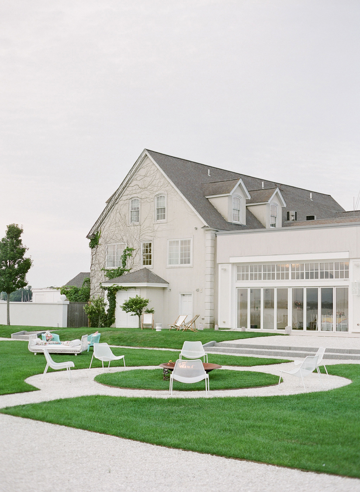 colleen stephen newport wedding venue with chairs on lawn