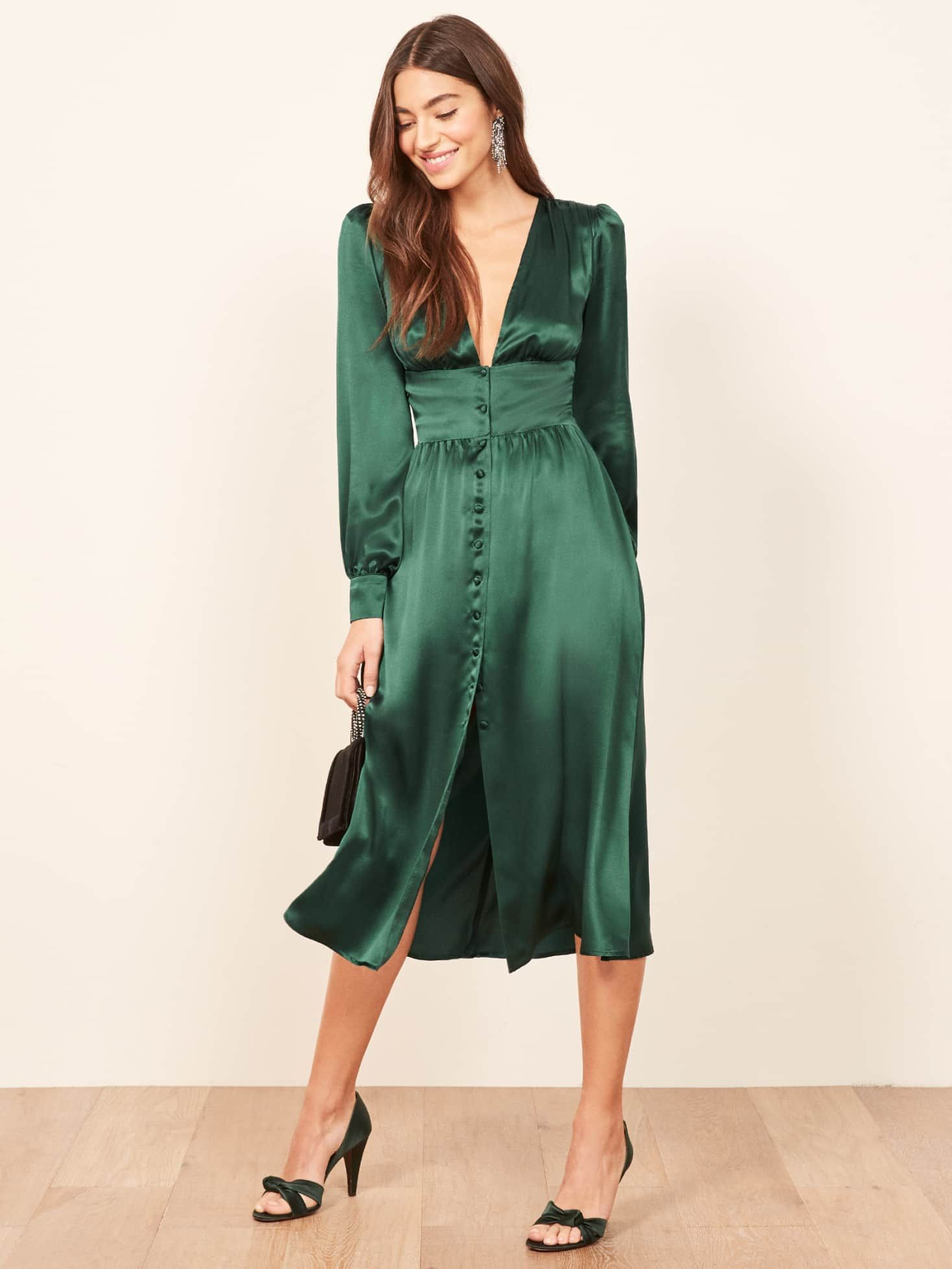 green reformation dress with v neckline and buttons