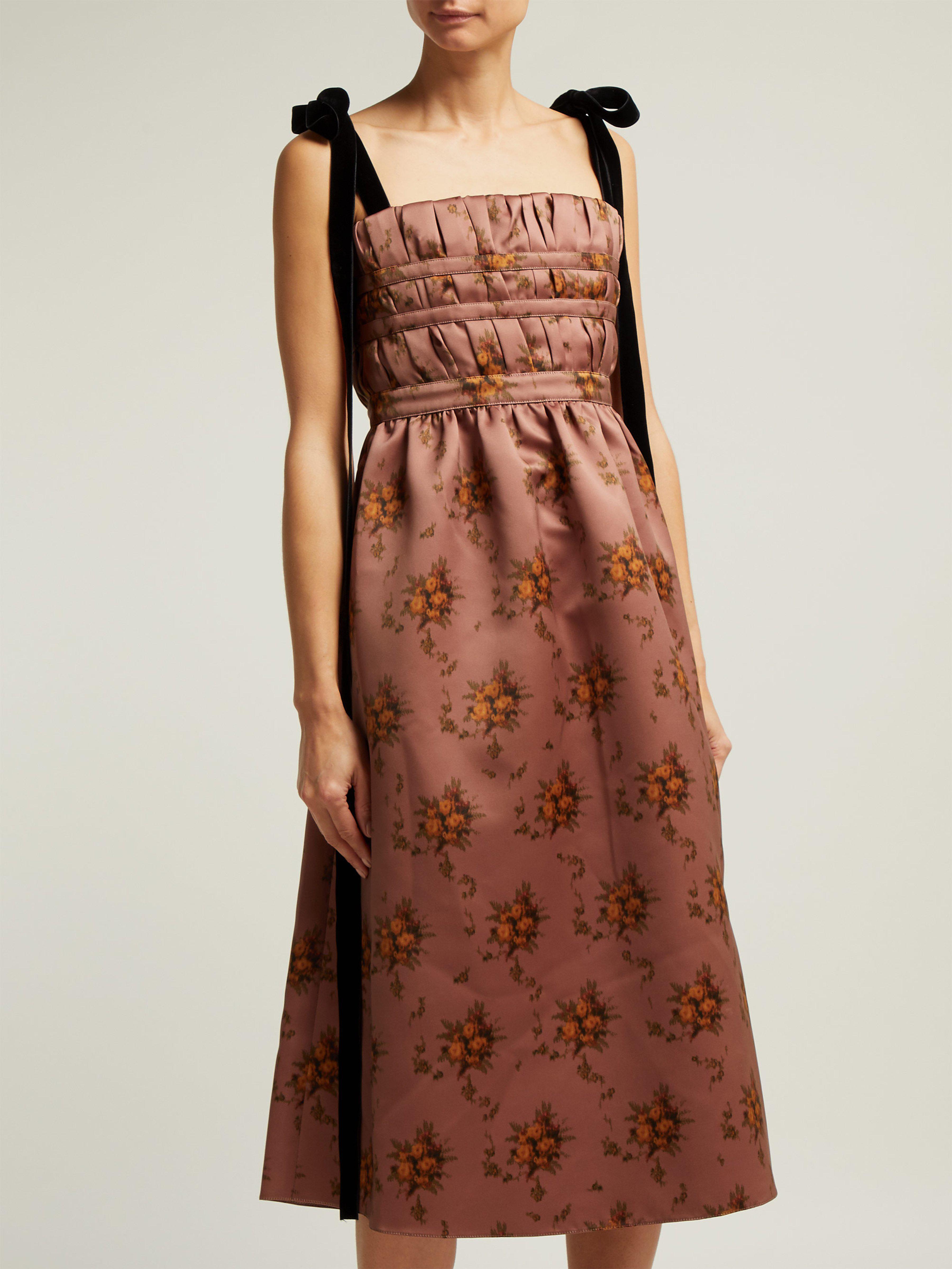 brock collection floral print satin dress