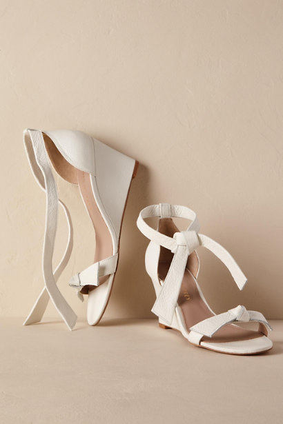 wedding wedges white leather bows