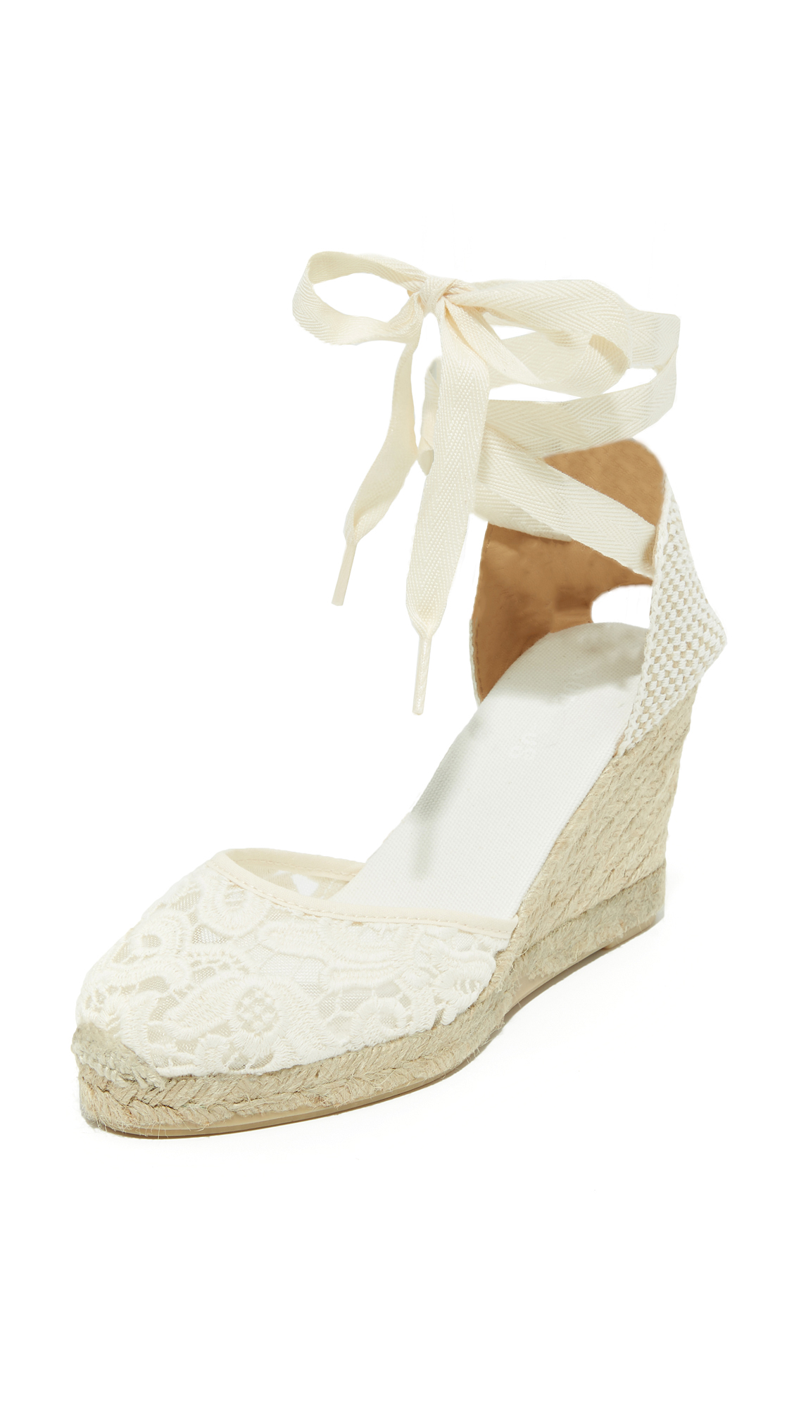wedding wedges white lace front
