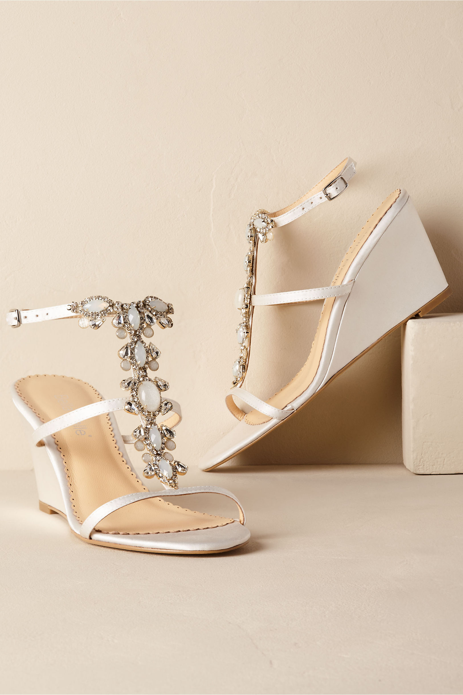 wedding wedges with beaded straps