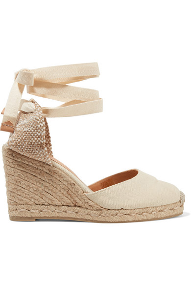 wedding wedges with tan canvas front