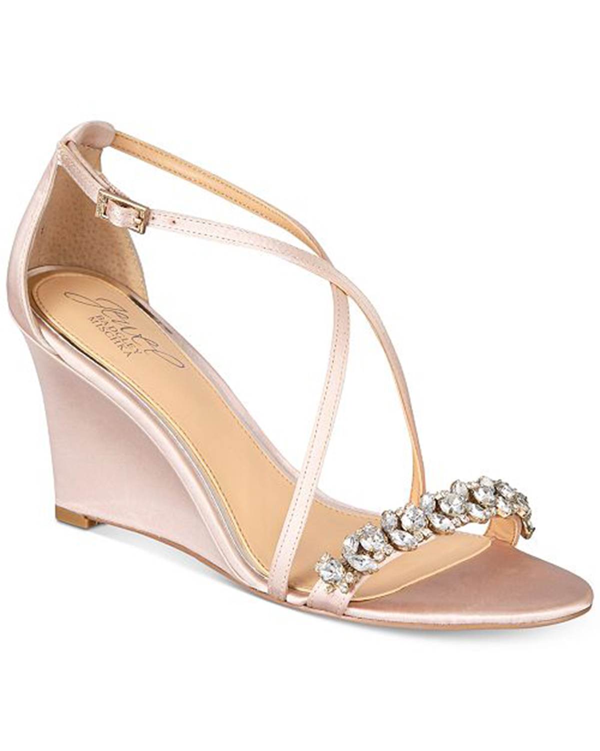 wedding wedges pink satin with rhinestone front