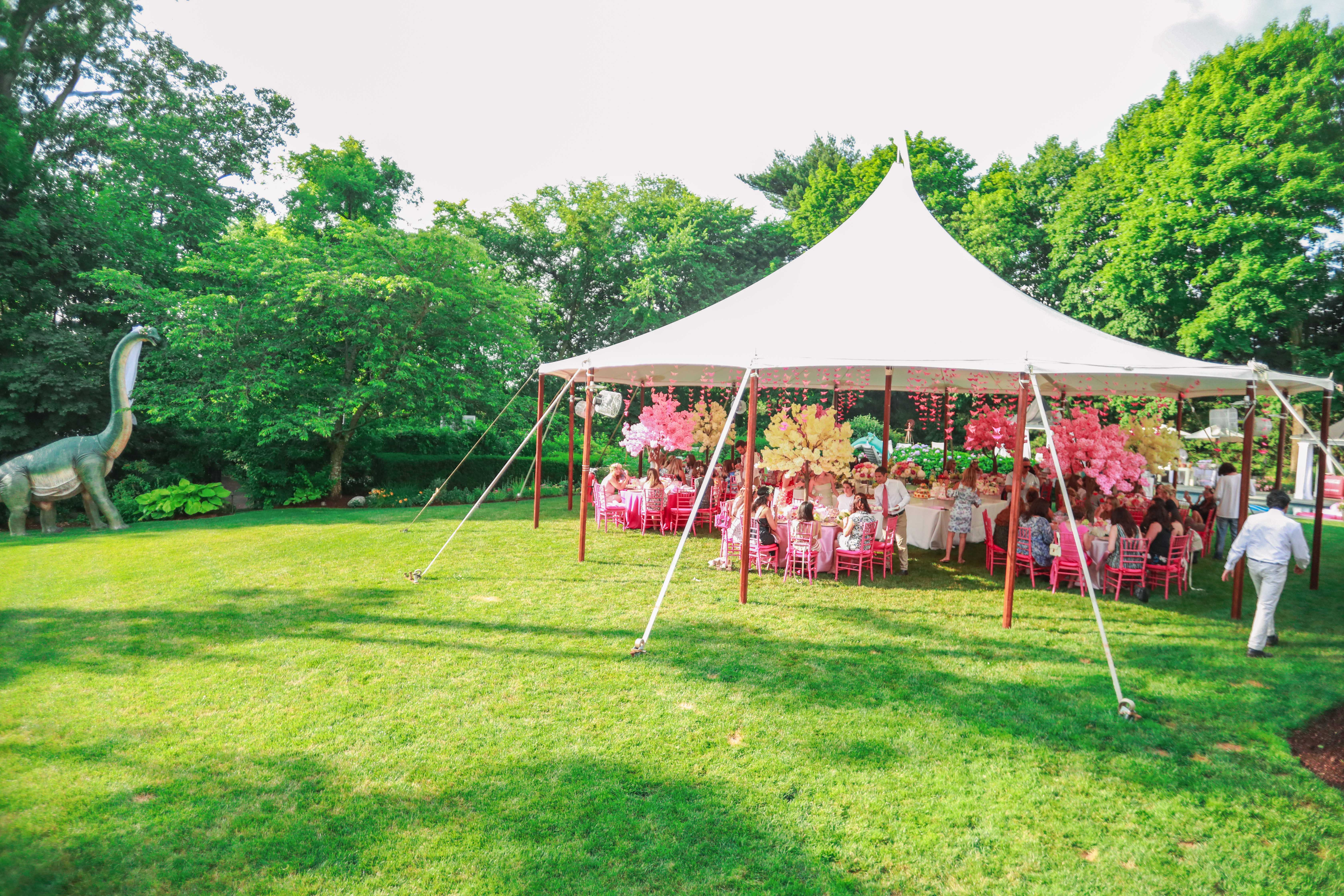 outdoor bridal shower pink decor and seatings under tent