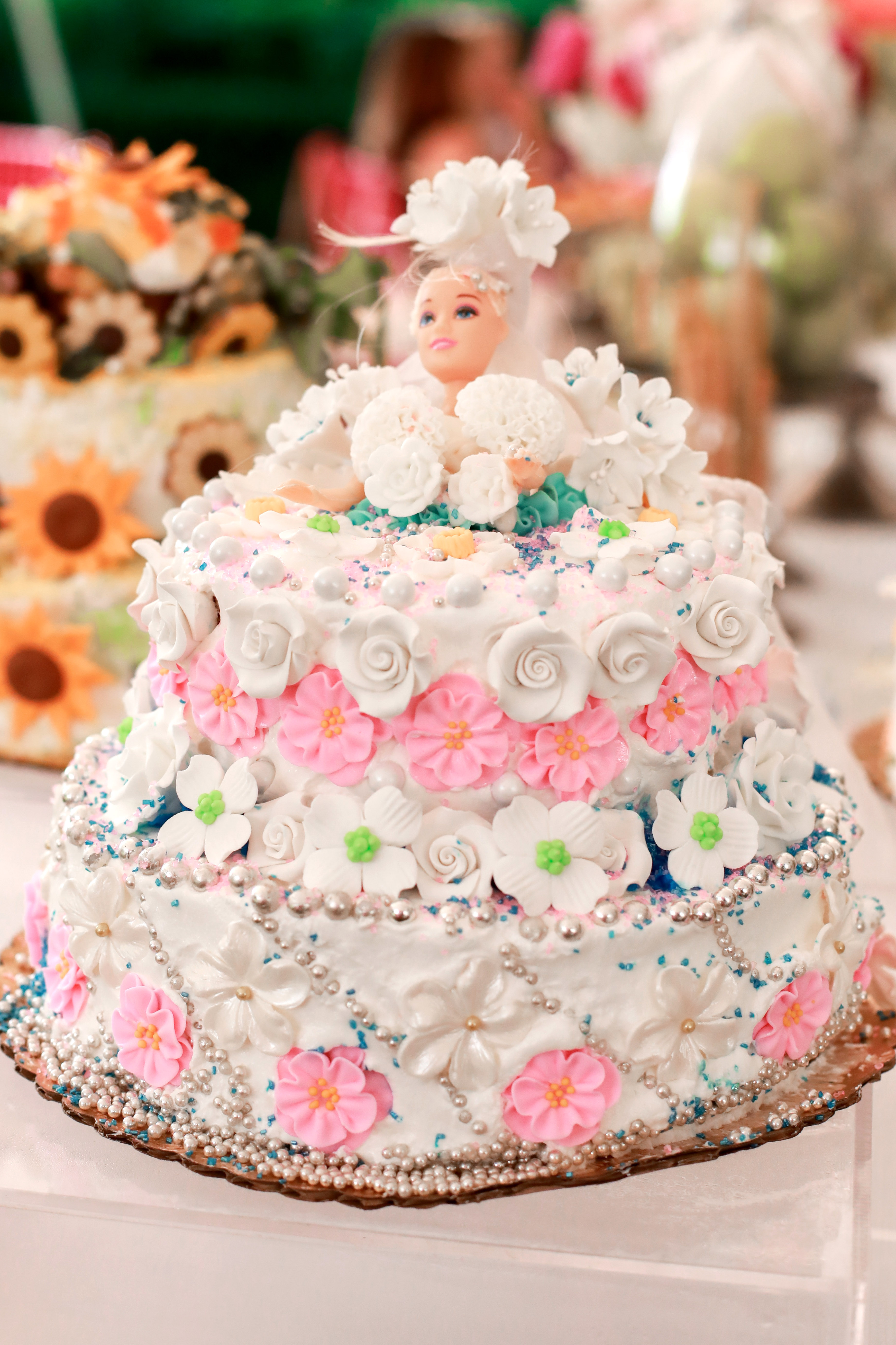 bridal shower pink white cake barbie topper