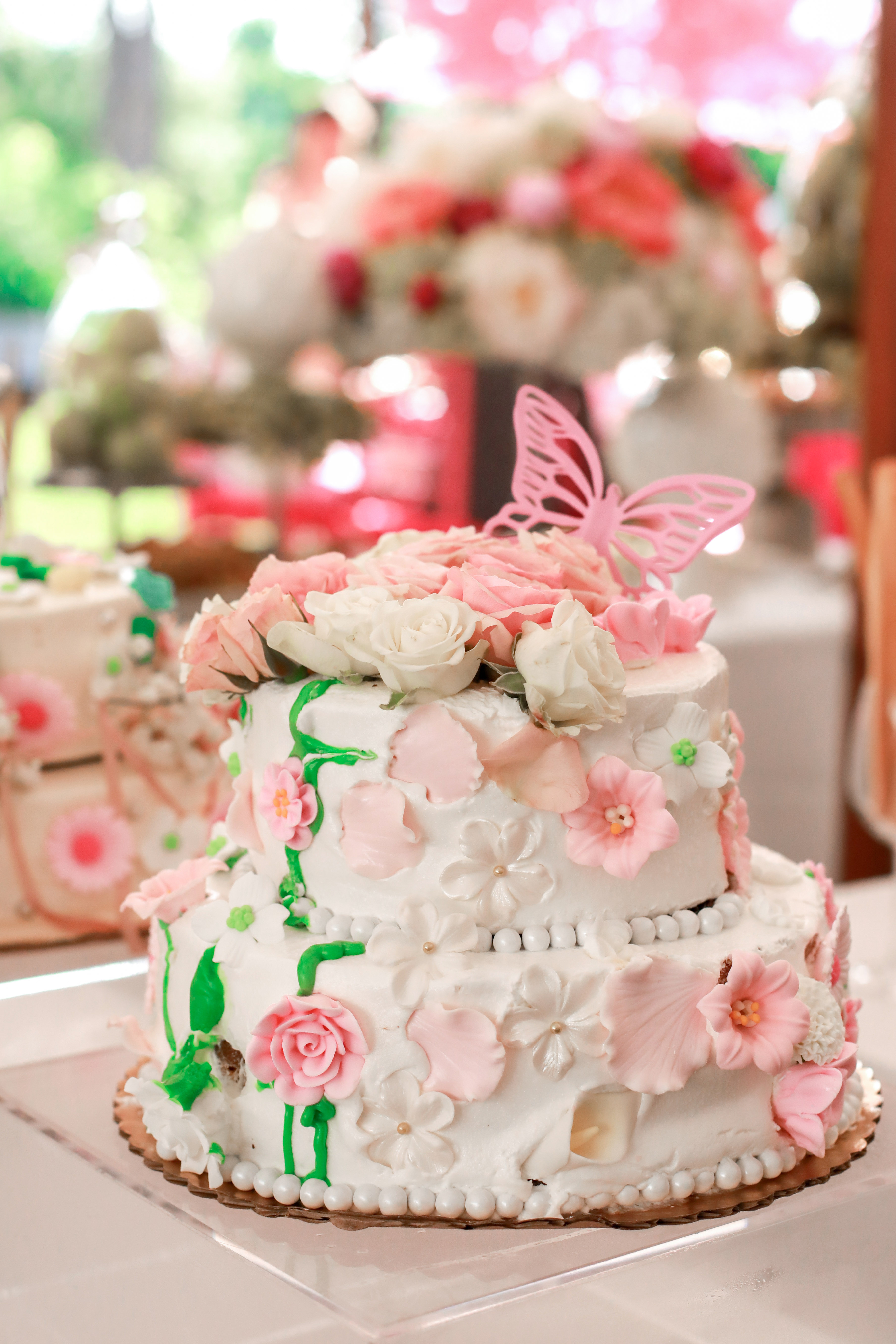 bridal shower cake pink white flowers butterfly