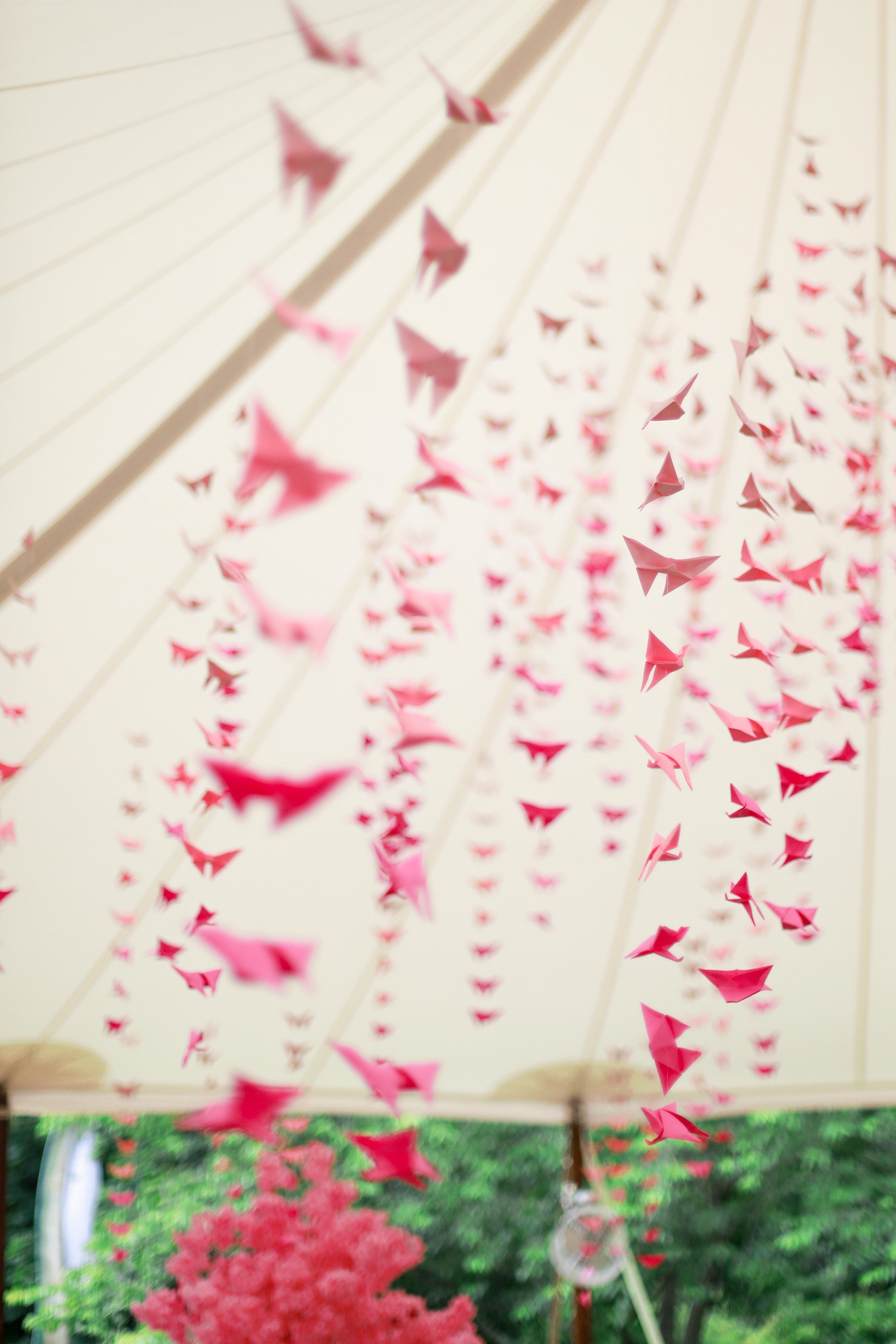 bridal shower hanging pink origami decor