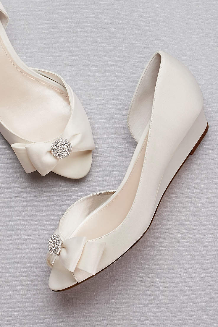 wedding wedges with white bow and rhinestones