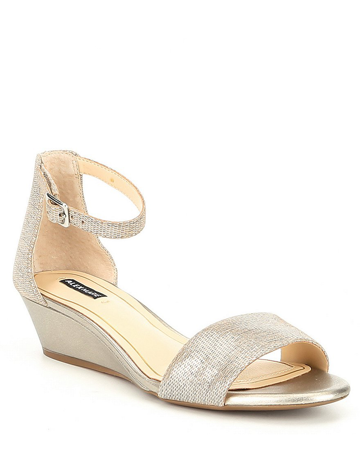 wedding wedges with metallic leather ankle strap