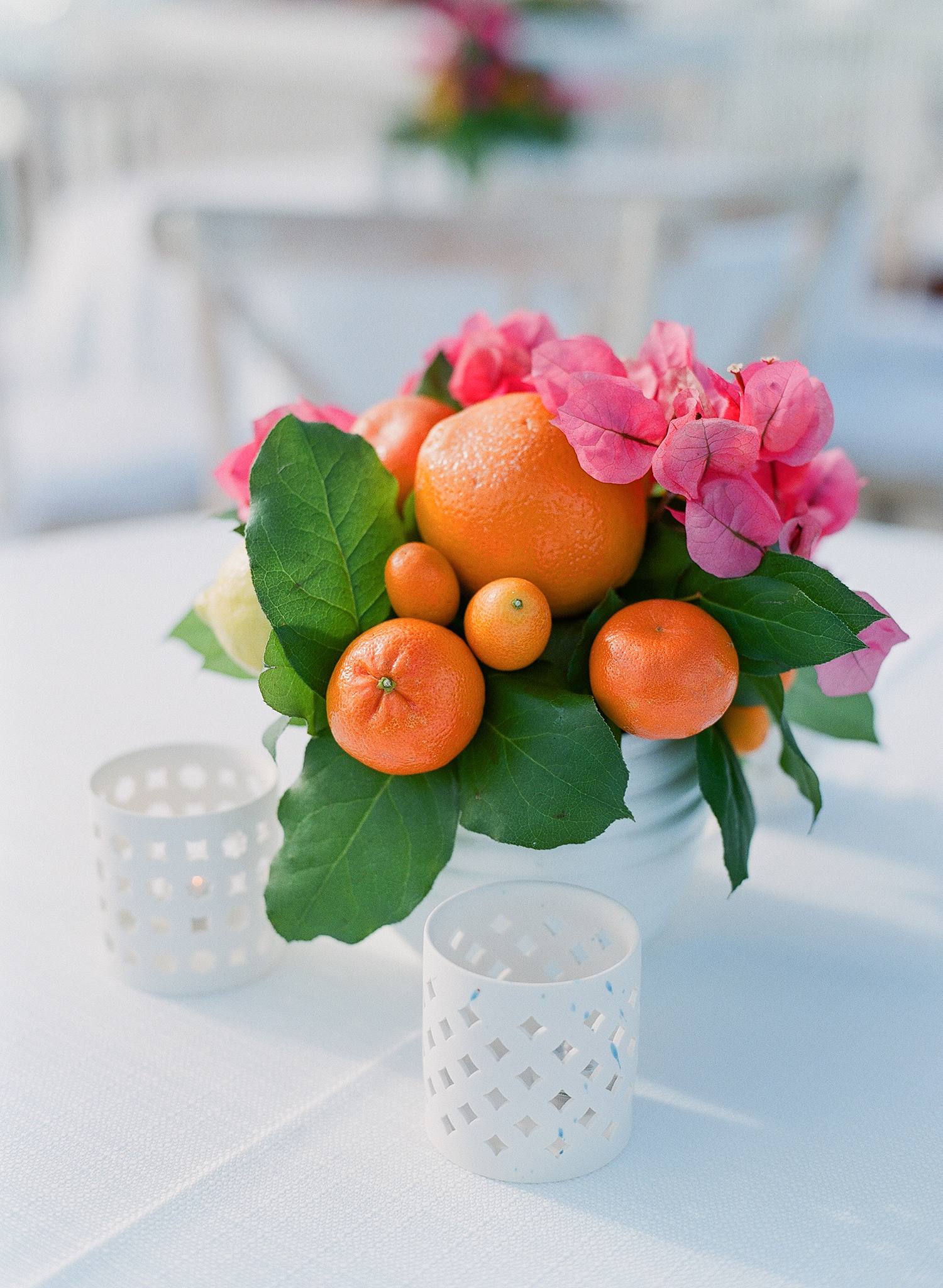 chelsea conor wedding welcome party citrus centerpiece