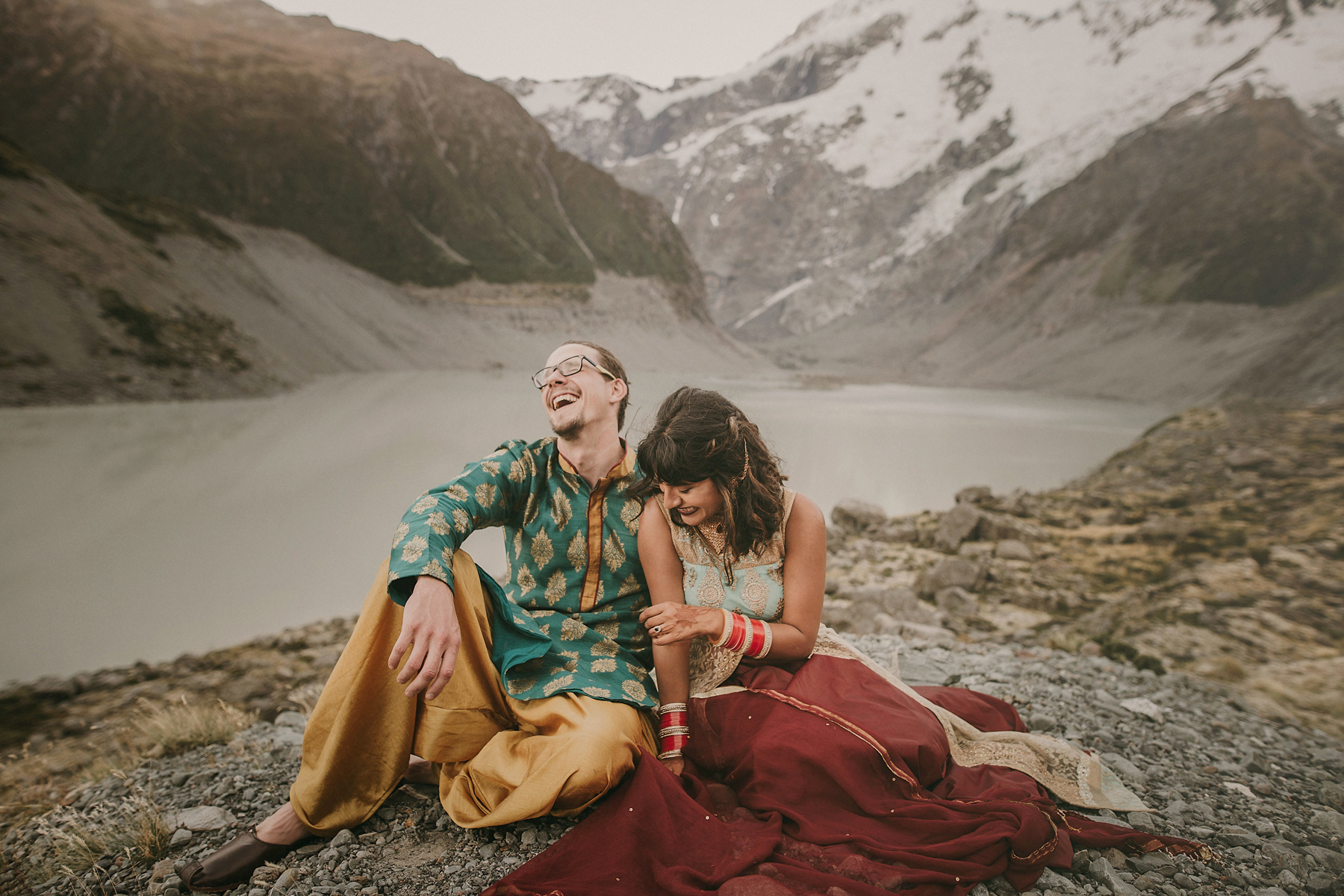 elopement outfit inspiration couple in punjabi outfits atop mountain