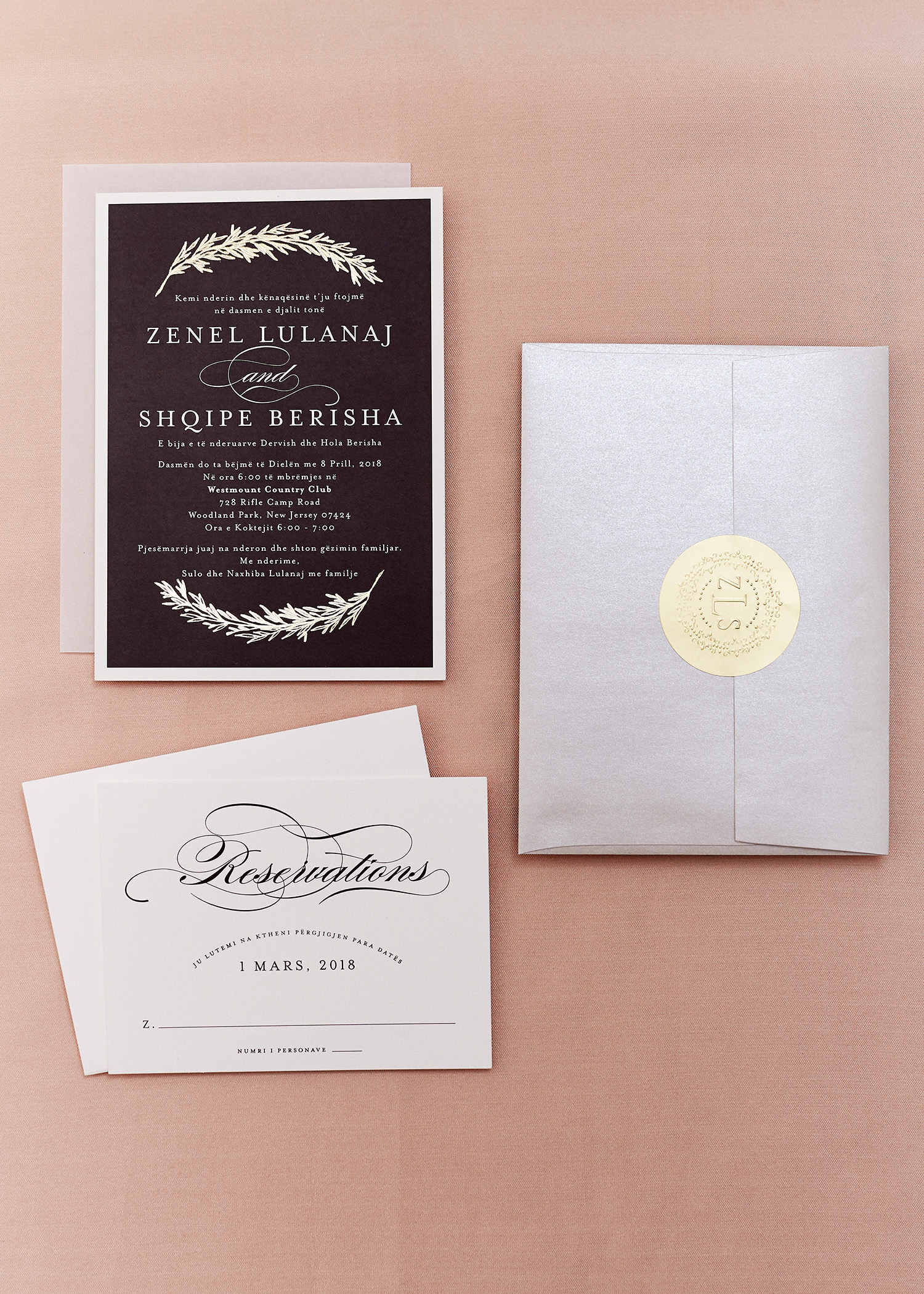 shqipe zenel wedding invitation suite