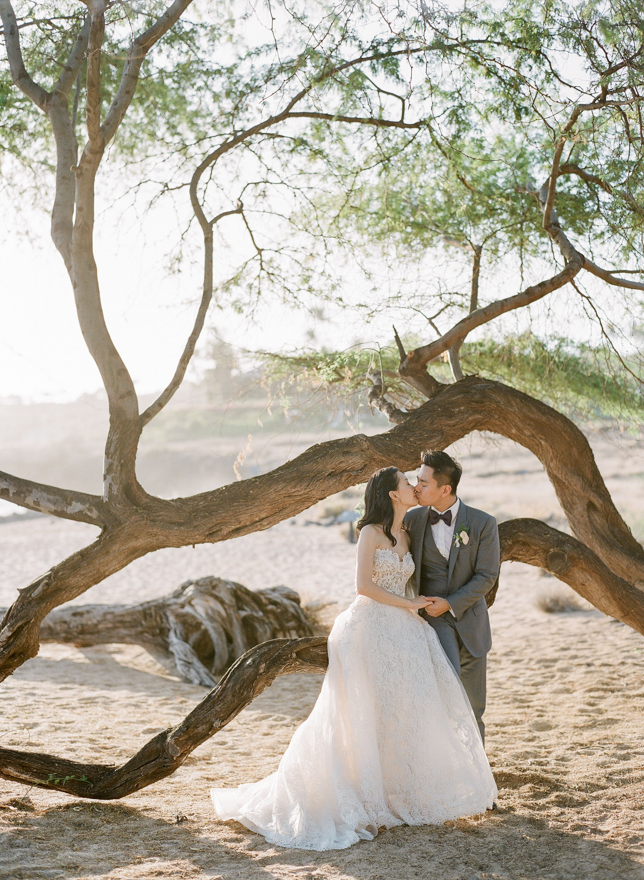 bride and groom hawaiian wedding kiss by beach tree